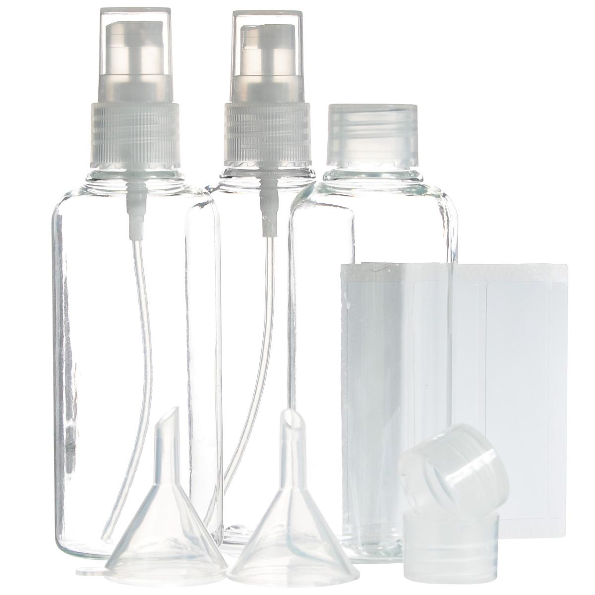Набор контейнеров для жидкостей JustinCase, с аксессуарами, 12 предметовMP59.3DНабор JustinCase состоит из 3 контейнеров, 2 крышек-диспансеров и 2 воронок.Контейнеры, изготовленные из пластика, прекрасно подойдут для жидких средств по уходу за телом и волосами (шампунь, кондиционер, гель для душа, массажное масло), которые вы хотите взять в дорогу. Все контейнеры можно использовать много раз. В комплекте такого дорожного набора - 5 упаковок наклеек для подписи содержимого контейнеров.Все предметы набора расположены в удобной пластиковой сумочке-чехле на змейке.Высота стенок контейнера: 9 см. Диаметр горлышка контейнера: 1,5 см.