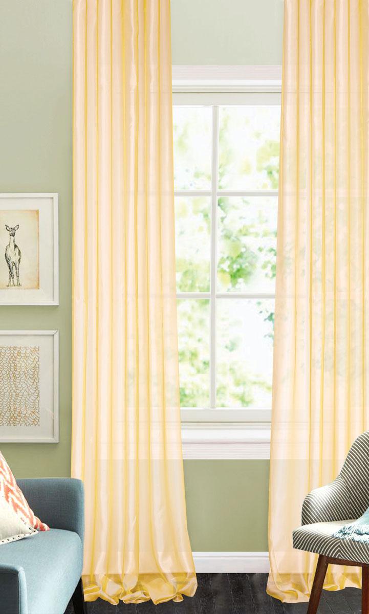 Штора готовая для гостиной Garden, на ленте, цвет: светло-бежевый, размер 300*260 см. CW875 V8GC013/00Изящная тюлевая штора Garden выполнена из структурной органзы (100% полиэстера). Полупрозрачная ткань, приятный цвет привлекут к себе внимание и органично впишутся в интерьер помещения. Такая штора идеально подходит для солнечных комнат. Мягко рассеивая прямые лучи, она хорошо пропускает дневной свет и защищает от посторонних глаз. Отличное решение для многослойного оформления окон. Штора крепится на карниз при помощи ленты, которая поможет красиво и равномерно задрапировать верх.