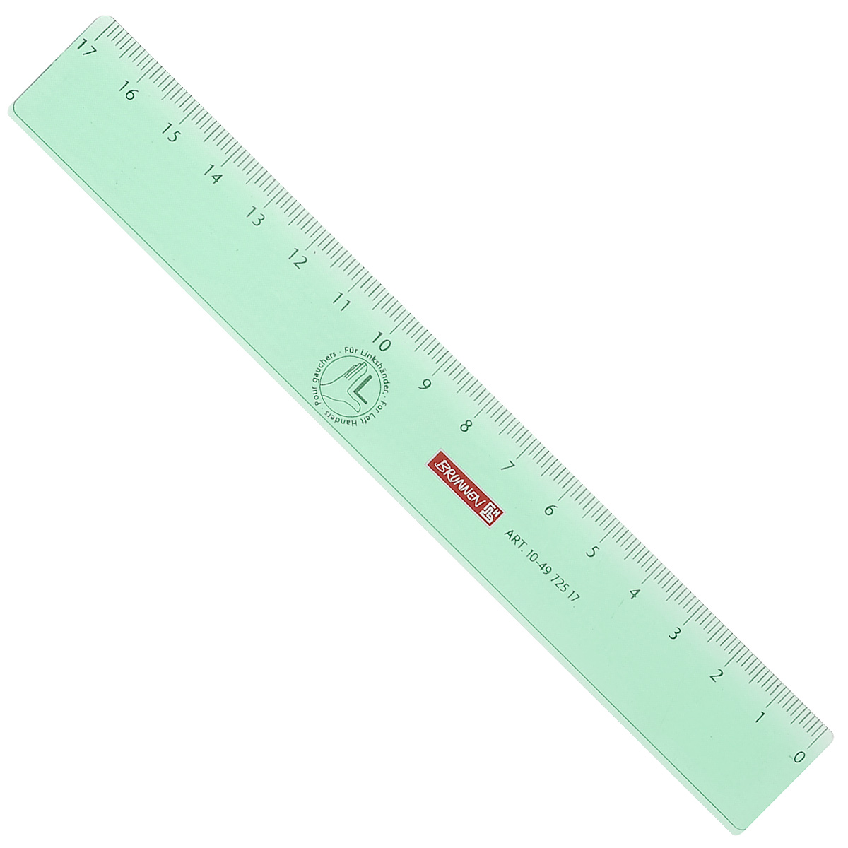 Линейка для левши Brunnen, цвет: зеленый, 17 см191510_бирюзовыйЛинейка Brunnen, длиной 17 см, выполнена из прозрачного пластика зеленого цвета. Линейка предназначена специально для левшей. Шкала на линейке расположена справа налево. Линейка Brunnen - это незаменимый атрибут, необходимый школьнику или студенту, упрощающий измерение и обеспечивающий ровность проводимых линий.