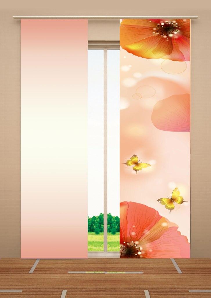 Японская панель Garden Цветы, 60 см х 270 см, 2 штVCA-00Японская панель Garden Цветы выполнена из 100% полиэстера с красочным цветочным рисунком. Такая панель сможет заменить обычные шторы и оригинально украсить любой интерьер - от классики до авангарда. Она будет отлично смотреться как в просторных помещениях с большими окнами, так и в маленьких комнатах. Кроме того, такие панели позволяют оформлять не только оконные и дверные проемы, но и могут выступать в качестве декоративных перегородок: для отделения рабочей зоны, спального места, кухни и т.д. Преимущество данных панелей в том, что они, как и жалюзи, занимают мало места. Конструкция позволяет их легко монтировать и снимать. Внизу панель закреплена специальным утяжелителем, а вверху карнизным держателем. Для подвешивания японских панелей необходим специальный карниз. Он представляет собой алюминиевый профиль с несколькими рядами (до 10 рядов). Панель крепится на направляющую при помощи липучки. Такое крепление позволяет очень быстро и легко менять панели на другие. На один карниз можно подвесить несколько панелей.Для современного городского интерьера, избавленного от лишних деталей и вычурного декора, как нельзя лучше подойдут японские панели. Они станут не только украшением интерьера, привлекая к себе внимание, но и помогут создать в помещении романтическую теплую атмосферу, рассеивая яркий солнечный свет, приглушая общее освещение комнаты. Разнообразие цветов, текстур и материалов позволяет подобрать подходящие композиции для любого интерьера. В комплект входит: - Римская панель - 2 шт. Размер: 60 см х 270 см.