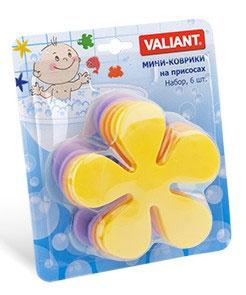 Valiant 161Y Мини коврик для ванной комнаты ЦВЕТОК (на присосах), набор 6 шт.161Y