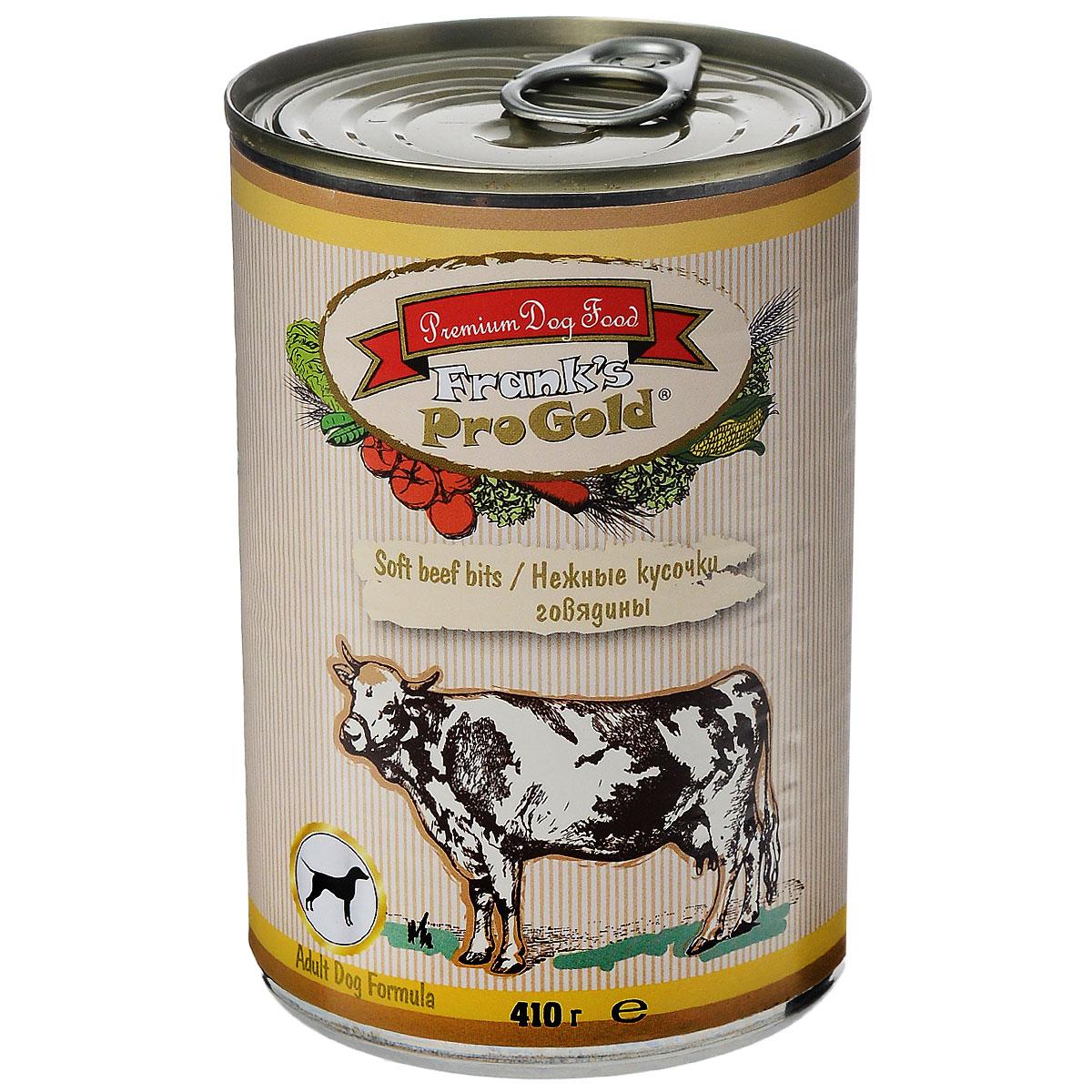 Franks ProGold Консервы для собак Нежные кусочки говядины (Soft beef bits Adult Dog Recipe), 410 г.0120710Полнорационный корм для собак. Состав: мясо курицы, говядина, мясо и его производные, злаки, витамины и минералы.Пищевая ценность: влажность 81 %,белки 6,5 %, жиры 4,5 %, зола 2 %, клетчатка 0,5.Добавки: Витамин A 1600 IU, Витамин D 140 IU, Витамин E 10 IU, Железо E1 24 мг/кг, Марганец E5 6 мг/кг, Цинк E6 15 мг/кг, Иодин E2 0,3 мг/кг. Калорийность: 393,6 калл. Условия хранения: в прохладномтемном месте.