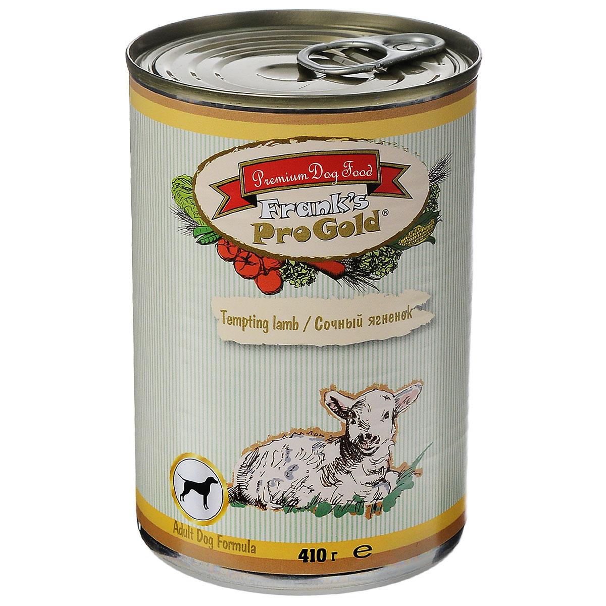 Franks ProGold Консервы для собак Сочный ягненок (Tempting lamb Adult Dog Recipe), 410 г.0120710Полнорационный корм для собак. Состав: мясо курицы, ягненок, мясо и его производные, злаки, витамины и минералы.Пищевая ценность: влажность 81 %,белки 6,5 %, жиры 4,5 %, зола 2 %, клетчатка 0,5.Добавки: Витамин A 1600 IU, Витамин D 140 IU, Витамин E 10 IU, Iron E1 24 mg, Железо E1 24 мг/кг, Марганец E5 6 мг/кг, Цинк E6 15 мг/кг, Иодин E2 0,3 мг/кг. Калорийность: 393,6 калл. Условия хранения: в прохладномтемном месте.