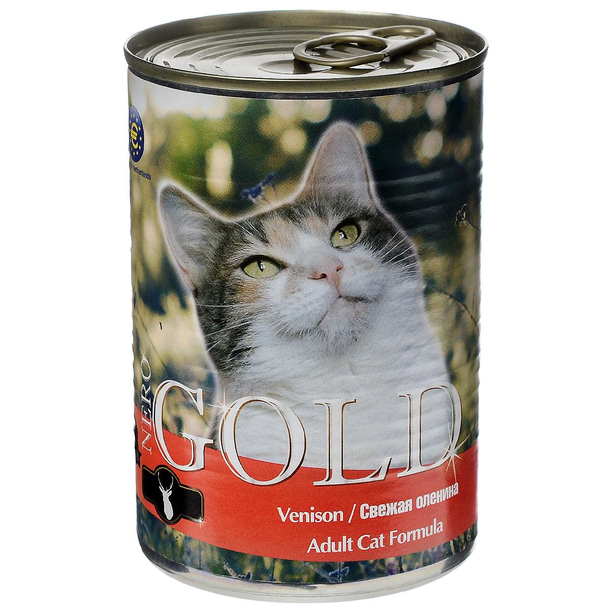 Консервы для кошек Nero Gold, свежая оленина, 410 г0120710Консервы для кошек Nero Gold - полнорационный продукт, содержащий все необходимые витамины и минералы, сбалансированный для поддержания оптимального здоровья вашего питомца! Состав: мясо и его производные, филе курицы, оленина, злаки, витамины и минералы. Гарантированный анализ: белки 6%, жиры 4,5%, клетчатка 0,5%, зола 2%, влага 81%. Пищевые добавки на 1 кг продукта: витамин А 1600 МЕ, витамин D 140 МЕ, витамин Е 10 МЕ, таурин 300 мг, железо 24 мг, марганец 6 мг, цинк 15 мг, медь 1 мг, магний 200 мг, йод 0,3 мг, селен 0,2 мг.Вес: 410 г. Товар сертифицирован.