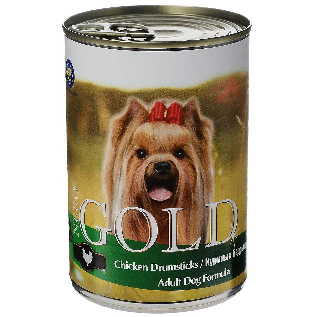 Консервы для собак Nero Gold, с куриными бедрышками, 410 г0120710Консервы для собак Nero Gold - полнорационный продукт, содержащий все необходимые витамины и минералы, сбалансированный для поддержания оптимального здоровья вашего питомца! Состав: мясо и его производные, филе курицы, злаки, витамины и минералы. Гарантированный анализ: белки 6,5%, жиры 4,5%, клетчатка 0,5%, зола 2%, влага 81%.Пищевые добавки на 1 кг продукта: витамин А 1600 МЕ, витамин D 140 МЕ, витамин Е 10 МЕ, железо 24 мг, марганец 6 мг, цинк 15 мг, медь 1 мг, магний 200 мг, йод 0,3 мг, селен 0,2 мг.Вес: 410 г. Товар сертифицирован.