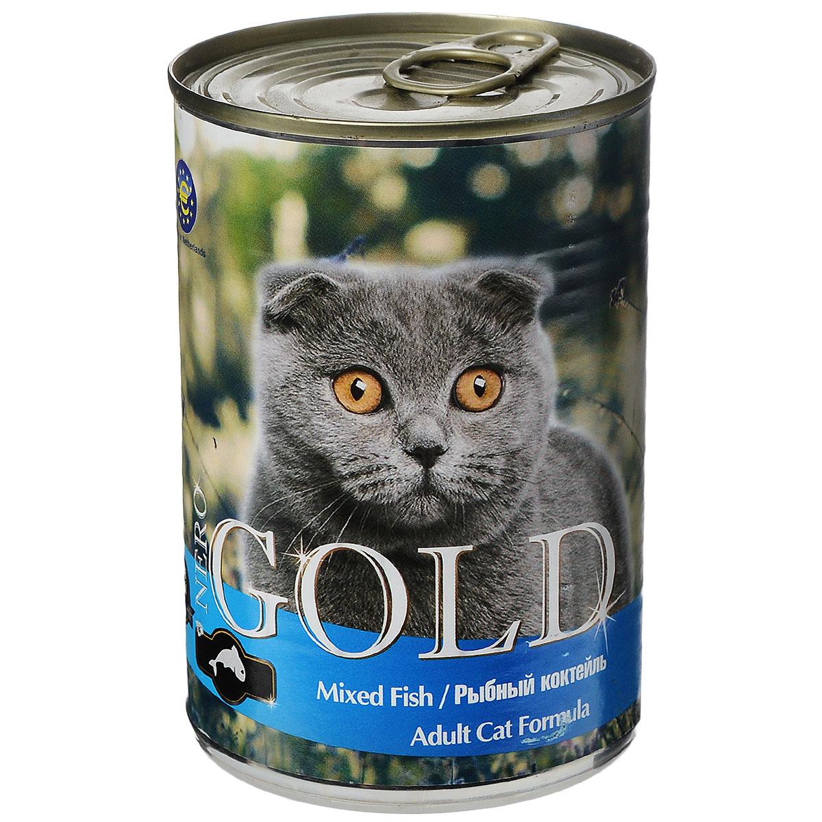 Консервы для кошек Nero Gold, рыбный коктейль, 410 г20254Консервы для кошек Nero Gold - полнорационный продукт, содержащий все необходимые витамины и минералы, сбалансированный для поддержания оптимального здоровья вашего питомца! Состав: мясо и его производные, филе курицы, филе рыбы, злаки, витамины и минералы. Гарантированный анализ: белки 6%, жиры 4,5%, клетчатка 0,5%, зола 2%, влага 81%.Пищевые добавки на 1 кг продукта: витамин А 1600 МЕ, витамин D 140 МЕ, витамин Е 10 МЕ, таурин 300 мг, железо 24 мг, марганец 6 мг, цинк 15 мг, медь 1 мг, магний 200 мг, йод 0,3 мг, селен 0,2 мг.Вес: 410 г. Товар сертифицирован.