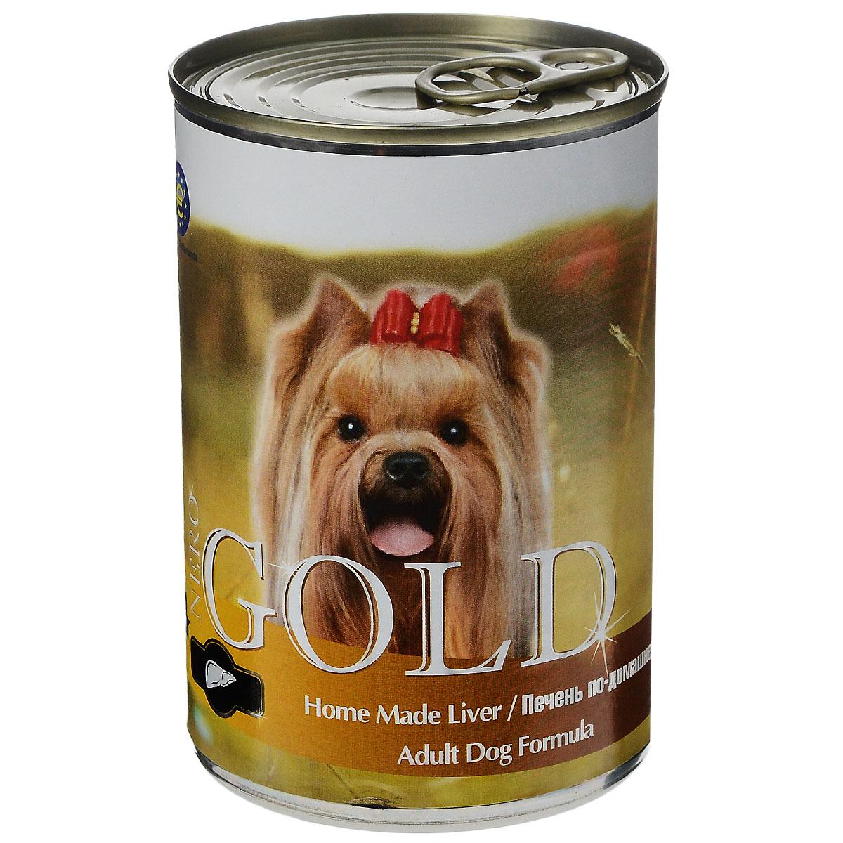 Консервы для собак Nero Gold, с печенью по-домашнему, 410 г0120710Консервы для собак Nero Gold - полнорационный продукт, содержащий все необходимые витамины и минералы, сбалансированный для поддержания оптимального здоровья вашего питомца! Состав: мясо и его производные, филе курицы, печень, злаки, витамины и минералы. Гарантированный анализ: белки 6,5%, жиры 4,5%, клетчатка 0,5%, зола 2%, влага 81%.Пищевые добавки на 1 кг продукта: витамин А 1600 МЕ, витамин D 140 МЕ, витамин Е 10 МЕ, железо 24 мг, марганец 6 мг, цинк 15 мг, медь 1 мг, магний 200 мг, йод 0,3 мг, селен 0,2 мг. Вес: 410 г. Товар сертифицирован.