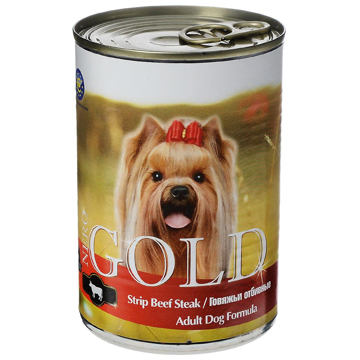 Консервы для собак Nero Gold, с говяжьей отбивной, 410 г10270Консервы для собак Nero Gold - полнорационный продукт, содержащий все необходимые витамины и минералы, сбалансированный для поддержания оптимального здоровья вашего питомца! Состав: мясо и его производные, филе курицы, говядина, злаки, витамины и минералы. Гарантированный анализ: белки 6,5%, жиры 4,5%, клетчатка 0,5%, зола 2%, влага 81%.Пищевые добавки на 1 кг продукта: витамин А 1600 МЕ, витамин D 140 МЕ, витамин Е 10 МЕ, железо 24 мг, марганец 6 мг, цинк 15 мг, медь 1 мг, магний 200 мг, йод 0,3 мг, селен 0,2 мг.Вес: 410 г. Товар сертифицирован.