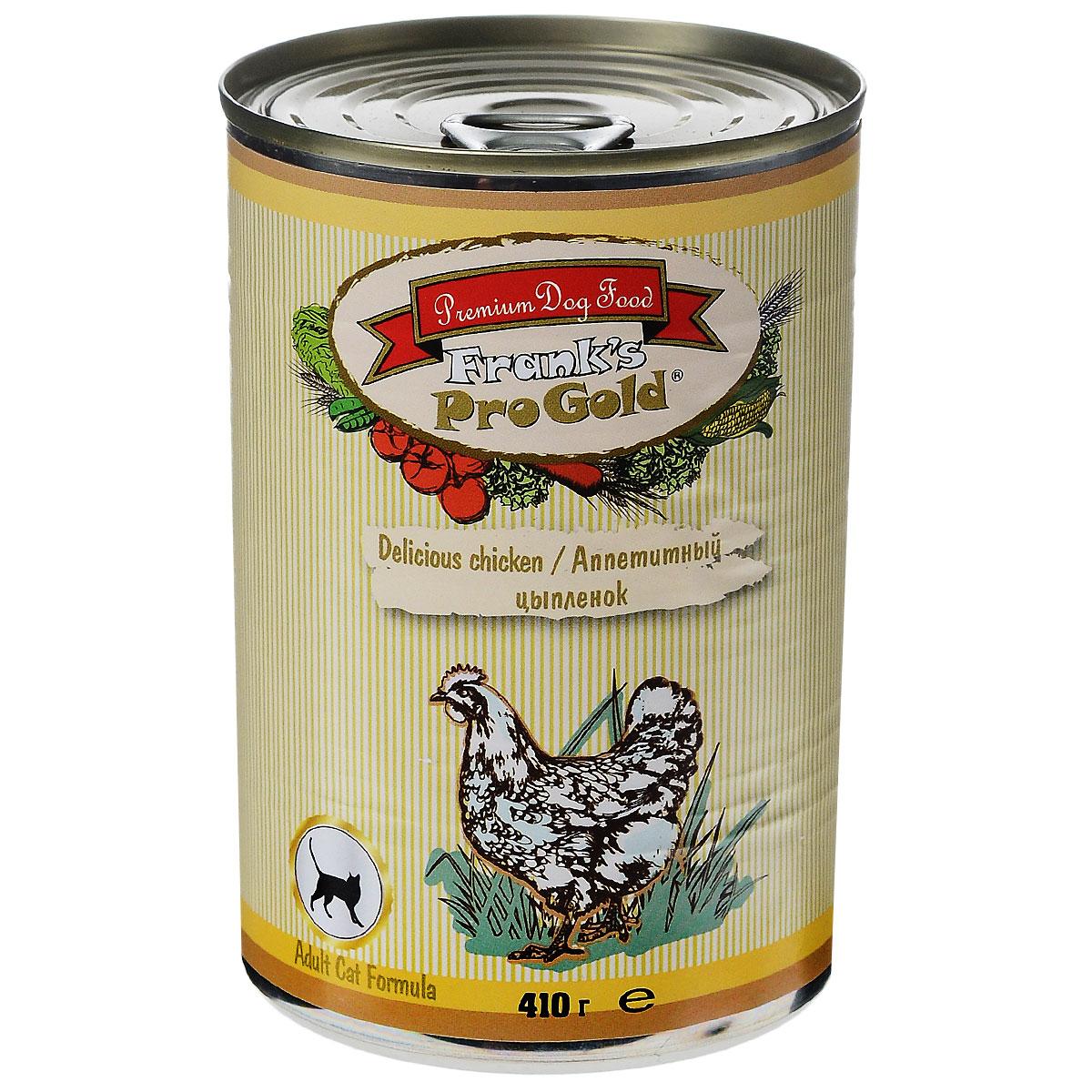 Консервы для кошек Franks ProGold, с цыпленком, 410 г0120710Консервы для кошек Franks ProGold - полнорационный продукт, содержащий все необходимые витамины и минералы, сбалансированный для поддержания оптимального здоровья вашего питомца! Ваш любимец, безусловно, оценит нежнейшие кусочки мяса в желе! Произведенные из натуральных ингредиентов, консервы Franks Pro Gold не содержат ГМО, сою, искусственных красителей, консервантов и усилителей вкуса. Состав: мясо и его производные, курица, злаки, витамины и минералы. Пищевая ценность: белки 6%, жиры 4,5%, клетчатка 0,5%, зола 2%, влажность 81%. Добавки: витамин A 1600 IU, витамин D 140 IU, витамин E 10 IU, таурин 300 мг/кг, железо 24 мг/кг, марганец 6 мг/кг, цинк 15 мг/кг, медь 1 мг/кг, магний 200 мг/кг, йодин 0,3 мг/кг, селен 0,2 мг/кг. Калорийность: 393,6 ккал. Товар сертифицирован.