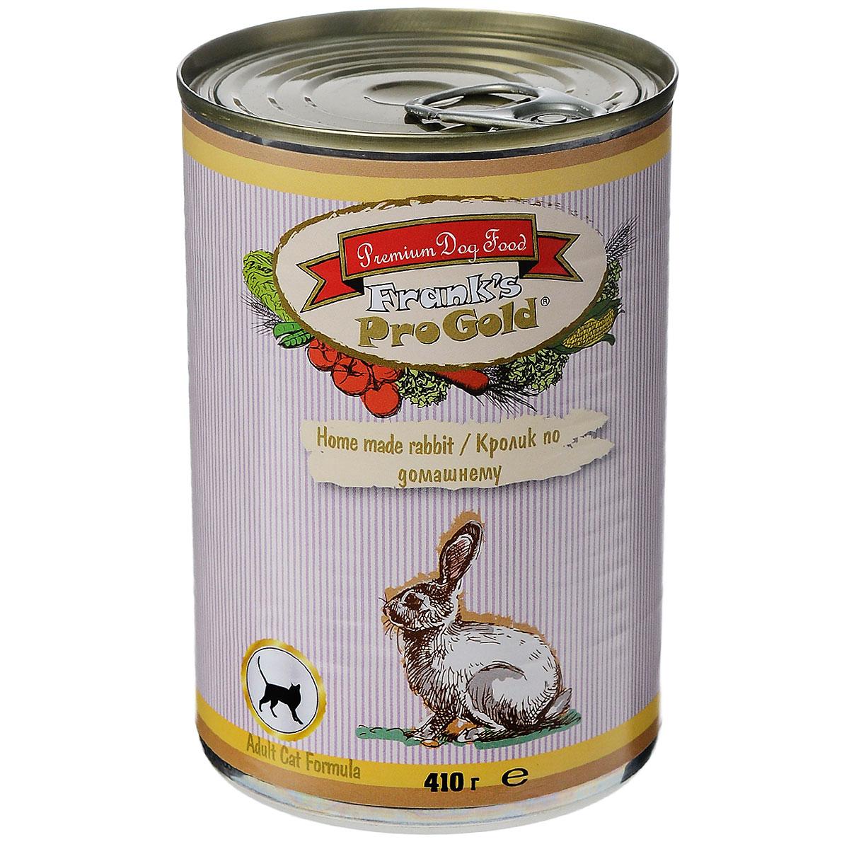 Консервы для кошек Franks ProGold, с кроликом по-домашнему, 410 г0120710Консервы для кошек Franks ProGold - полнорационный продукт, содержащий все необходимые витамины и минералы, сбалансированный для поддержания оптимального здоровья вашего питомца! Ваш любимец, безусловно, оценит нежнейшие кусочки мяса в желе! Произведенные из натуральных ингредиентов, консервы Franks Pro Gold не содержат ГМО, сою, искусственных красителей, консервантов и усилителей вкуса. Состав: мясо курицы, кролик, мясо и его производные, злаки, витамины и минералы. Пищевая ценность: влажность 81%,белки 6,5%, жиры 4,5%, зола 2%, клетчатка 0,5%. Добавки: витамин A 1600 IU, витамин D 140 IU, витамин E 10 IU, таурин 300 мг/кг, железо E1 24 мг/кг, марганец E5 6 мг/кг, цинк E6 15 мг/кг, йодин E2 0,3 мг/кг. Калорийность: 393,6 ккал. Товар сертифицирован.