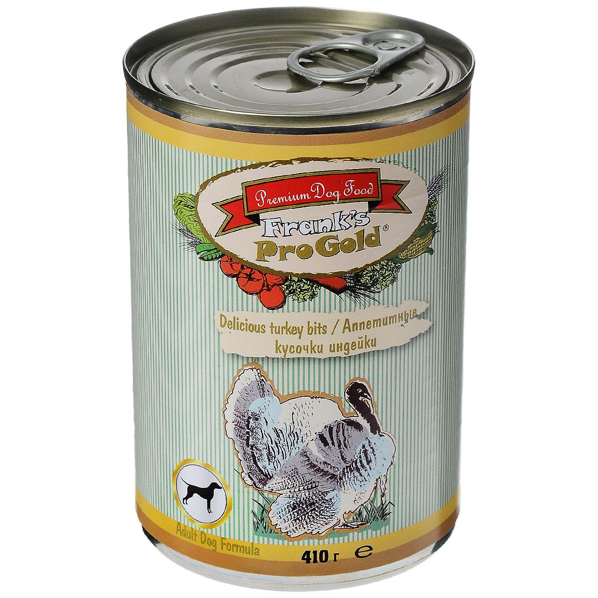 Консервы для собак Franks ProGold, с индейкой, 410 г101246Консервы для собак Franks ProGold - полнорационный продукт, содержащий все необходимые витамины и минералы, сбалансированный для поддержания оптимального здоровья вашего питомца! Ваш любимец, безусловно, оценит нежнейшие кусочки мяса в желе! Произведенные из натуральных ингредиентов, консервы Franks Pro Gold не содержат ГМО, сою, искусственных красителей, консервантов и усилителей вкуса. Состав: мясо курицы, индейка, мясо и его производные, злаки, витамины и минералы. Пищевая ценность: влажность 81%,белки 6,5%, жиры 4,5%, зола 2%, клетчатка 0,5%. Добавки: витамин A 1600 IU, витамин D 140 IU, витамин E 10 IU, железо E1 24 мг/кг, марганец E5 6 мг/кг, цинк E6 15 мг/кг, йодин E2 0,3 мг/кг. Калорийность: 393,6 ккал.Товар сертифицирован.
