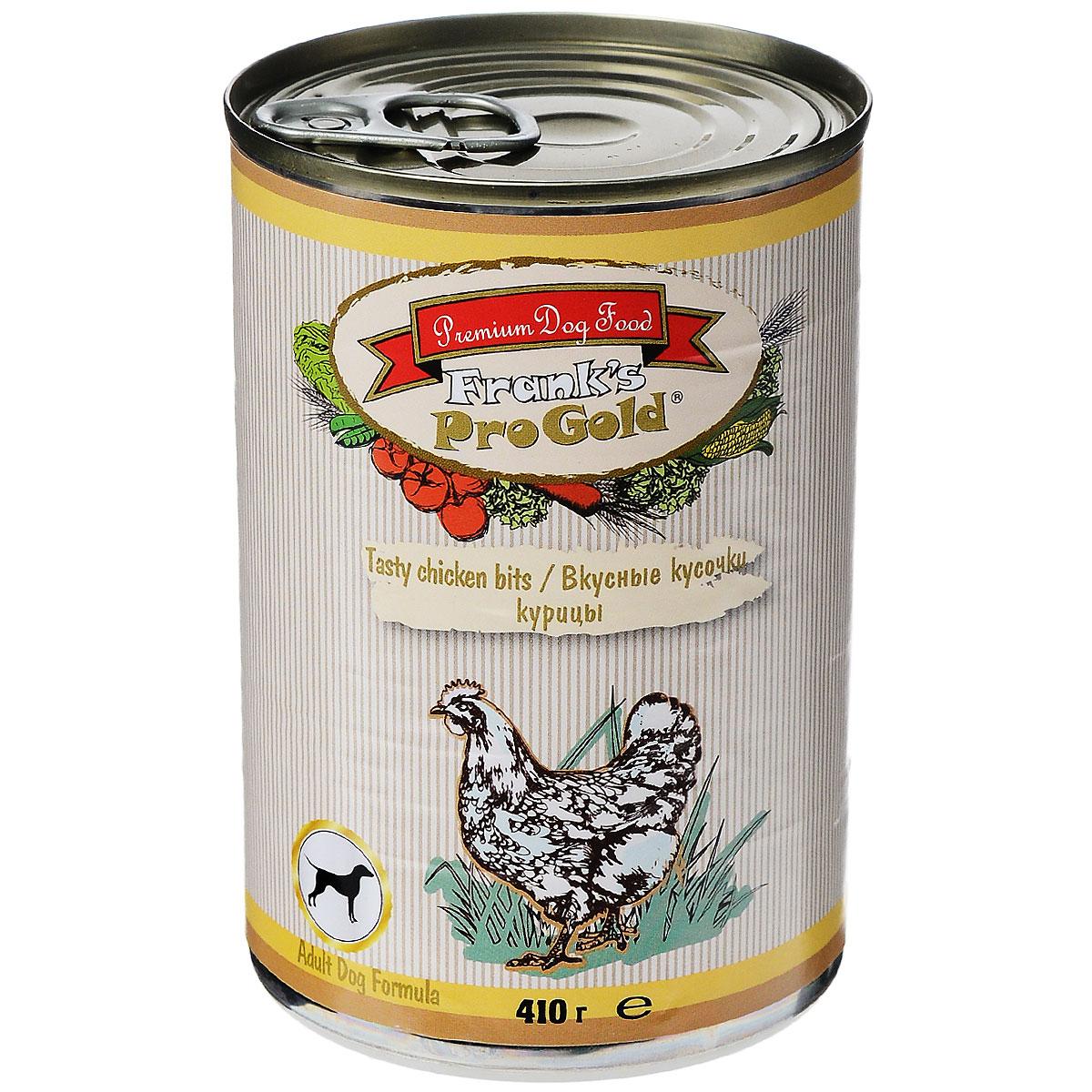 Консервы для собак Franks ProGold, с курицей, 410 г19421Консервы для собак Franks ProGold - полнорационный продукт, содержащий все необходимые витамины и минералы, сбалансированный для поддержания оптимального здоровья вашего питомца! Ваш любимец, безусловно, оценит нежнейшие кусочки мяса в желе! Произведенные из натуральных ингредиентов, консервы Franks Pro Gold не содержат ГМО, сою, искусственных красителей, консервантов и усилителей вкуса. Состав: мясо и его производные, курица, злаки, витамины и минералы. Пищевая ценность: белки 6,5%, жиры 4,5%, клетчатка 0,5%, зола 2%, влажность 81%. Добавки: витамин A 1600 IU, витамин D 140 IU, витамин E 10 IU, железо 24 мг/кг, марганец 6 мг/кг, цинк 15 мг/кг, медь 1 мг/кг, магний 200 мг/кг, йодин 0,3 мг/кг, селен 0,2 мг/кг. Калорийность: 393,6 ккал.Товар сертифицирован.