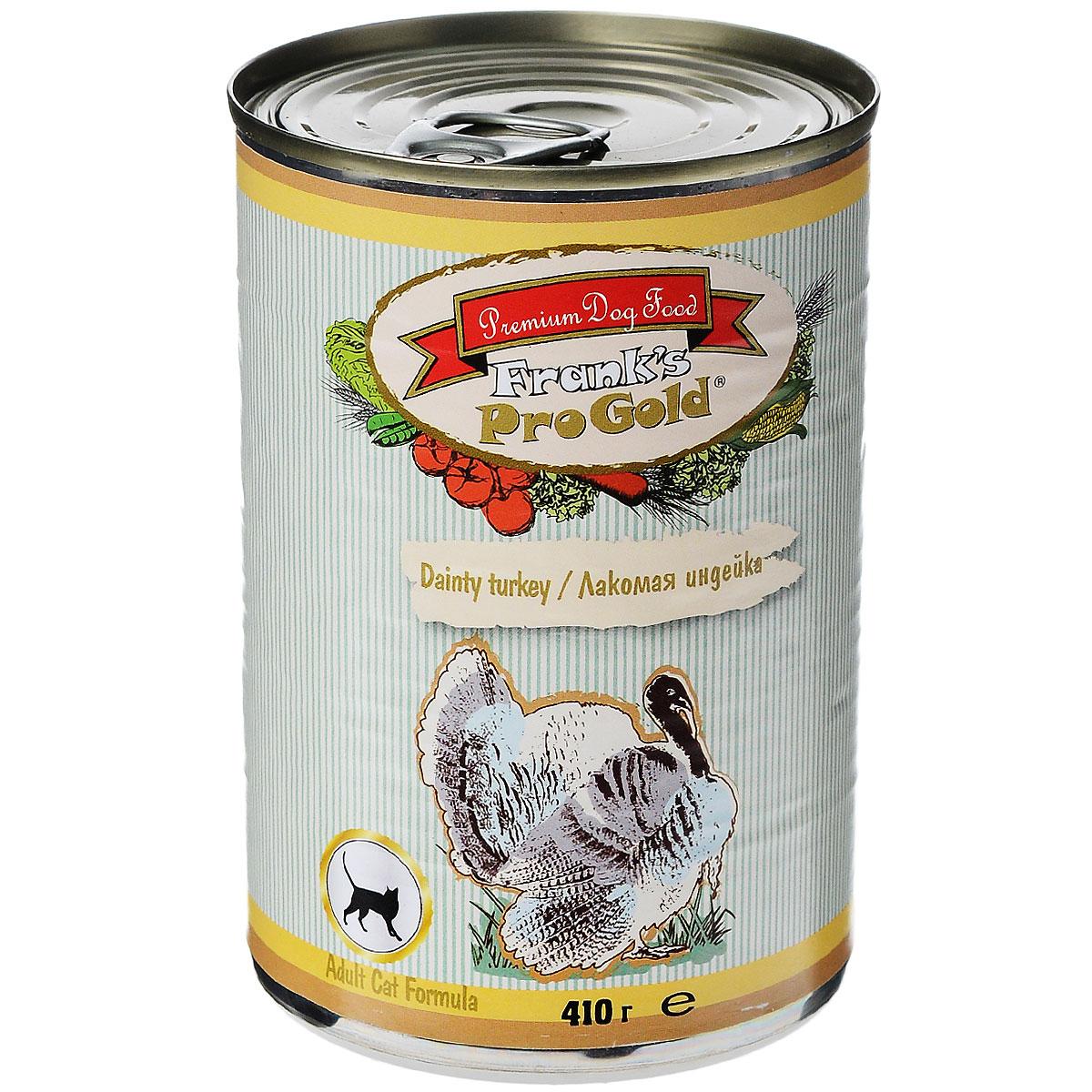 Консервы для кошек Franks ProGold, с индейкой, 410 г0120710Консервы для кошек Franks ProGold - полнорационный продукт, содержащий все необходимые витамины и минералы, сбалансированный для поддержания оптимального здоровья вашего питомца! Ваш любимец, безусловно, оценит нежнейшие кусочки мяса в желе! Произведенные из натуральных ингредиентов, консервы Franks Pro Gold не содержат ГМО, сою, искусственных красителей, консервантов и усилителей вкуса. Состав: мясо курицы, индейка, мясо и его производные, злаки, витамины и минералы. Пищевая ценность: влажность 81%,белки 6,5%, жиры 4,5%, зола 2%, клетчатка 0,5%. Добавки: витамин A 1600 IU, витамин D 140 IU, витамин E 10 IU, таурин 300 мг/кг, железо E1 24 мг/кг, марганец E5 6 мг/кг, цинк E6 15 мг/кг, йодин E2 0,3 мг/кг. Калорийность: 393,6 ккал. Товар сертифицирован.
