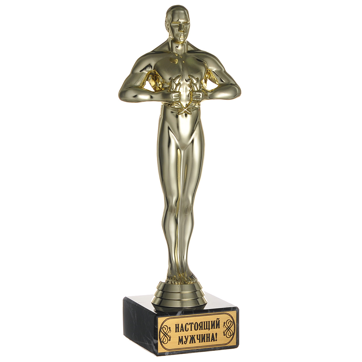 Кубок Оскар. Настоящий мужчина!, высота 24 смV4140/1SКубок Оскар. Настоящий мужчина! станет замечательным сувениром. Кубок выполнен из пластика с золотистым покрытием. Основание изготовлено из искусственного мрамора. Такой кубок обязательно порадует получателя, вызовет улыбку и массу положительных эмоций.