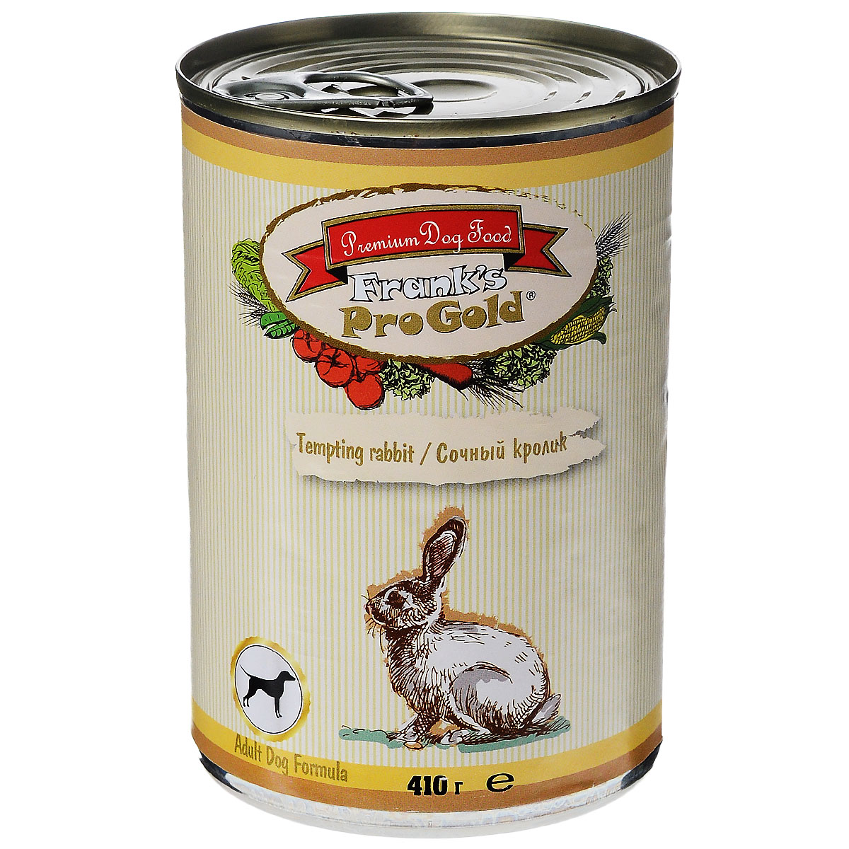 Консервы для собак Franks ProGold, с сочным кроликом, 410 г19420Консервы для собак Franks ProGold - полнорационный продукт, содержащий все необходимые витамины и минералы, сбалансированный для поддержания оптимального здоровья вашего питомца! Ваш любимец, безусловно, оценит нежнейшие кусочки мяса в желе! Произведенные из натуральных ингредиентов, консервы Franks Pro Gold не содержат ГМО, сою, искусственных красителей, консервантов и усилителей вкуса. Состав: мясо курицы, кролик, мясо и его производные, злаки, витамины и минералы. Пищевая ценность: влажность 81%,белки 6,5%, жиры 4,5%, зола 2%, клетчатка 0,5%. Добавки: витамин A 1600 IU, витамин D 140 IU, витамин E 10 IU, железо E1 24 мг/кг, марганец E5 6 мг/кг, цинк E6 15 мг/кг, йодин E2 0,3 мг/кг. Калорийность: 393,6 ккал.Товар сертифицирован.