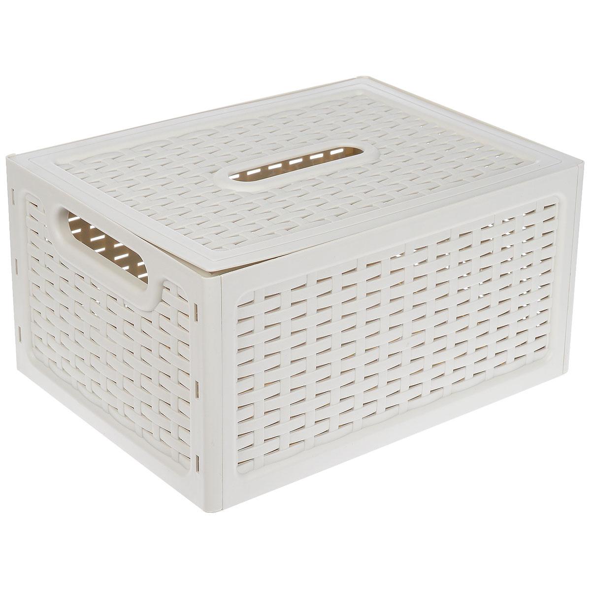 Ящик универсальный Idea Ротанг, с крышкой, цвет: белый, 37 х 28 х 19 смVT-1520(SR)Универсальный ящик Idea Ротанг выполнен из пищевого пластика и предназначен для хранения различных предметов и аксессуаров. Ящик оснащен крышкой и двумя ручками для удобной переноски. Элегантный выдержанный дизайн изделия позволяет органично вписаться в ваш интерьер и стать его элементом.