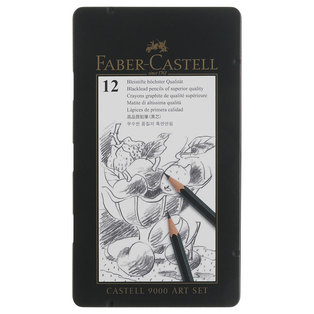 Карандаш чернографитный Faber-Castell, 12 шт115827Чернографитный карандаш Faber-Castell станет не только идеальным инструментом для письма, рисования или черчения, но и дополнит ваш имидж. Шестигранный корпус выполнен из натуральной древесины с зеленым глянцевым покрытием с надписями золотого цвета. Высококачественный ударопрочный грифель не крошится и не ломается при заточке. В наборе 12 карандашей с разной твердостью. Карандаши упакованы в специальную жестяную коробку.