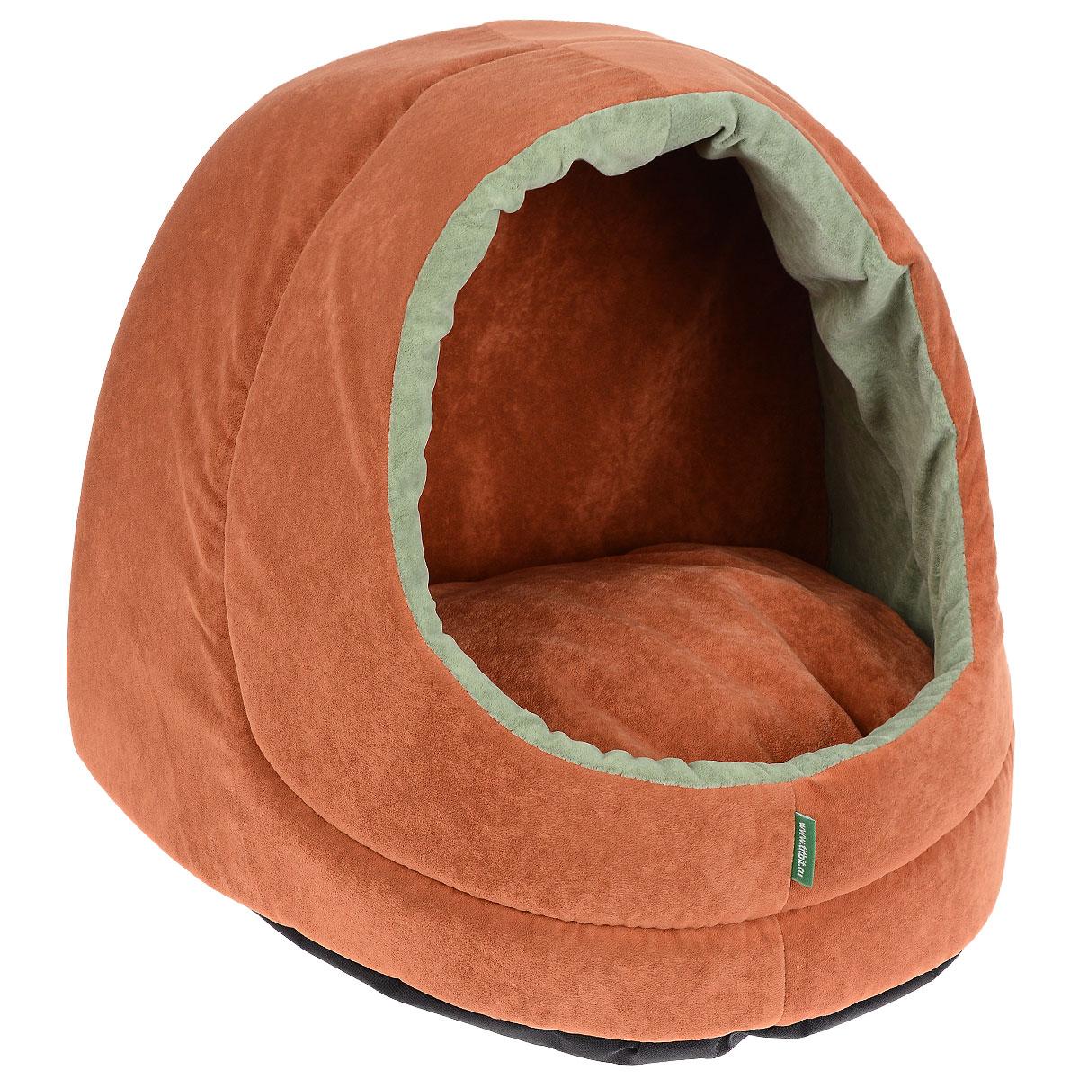 Домик для кошек и собак Titbit, цвет: оранжевый, 35 см х 40 см х 35 см0120710Домик предназначен для кошек и небольших собак. Конструкция из поролона прекрасно держит форму, а отделка из флока - нежная и мягкая на ощупь. Дно домика сшито из износостойкой ткани, а внутри лежит мягкая двусторонняя подушка на синтепоне. Стильная расцветка впишется в любой интерьер. Домик от TiTBiT обеспечит Вашему питомцу уютный и комфортный отдых. Вкус: Состав: ткань мебельная флок, поролон, синтепон. ткань ОксфордУсловия хранения: сухое место.