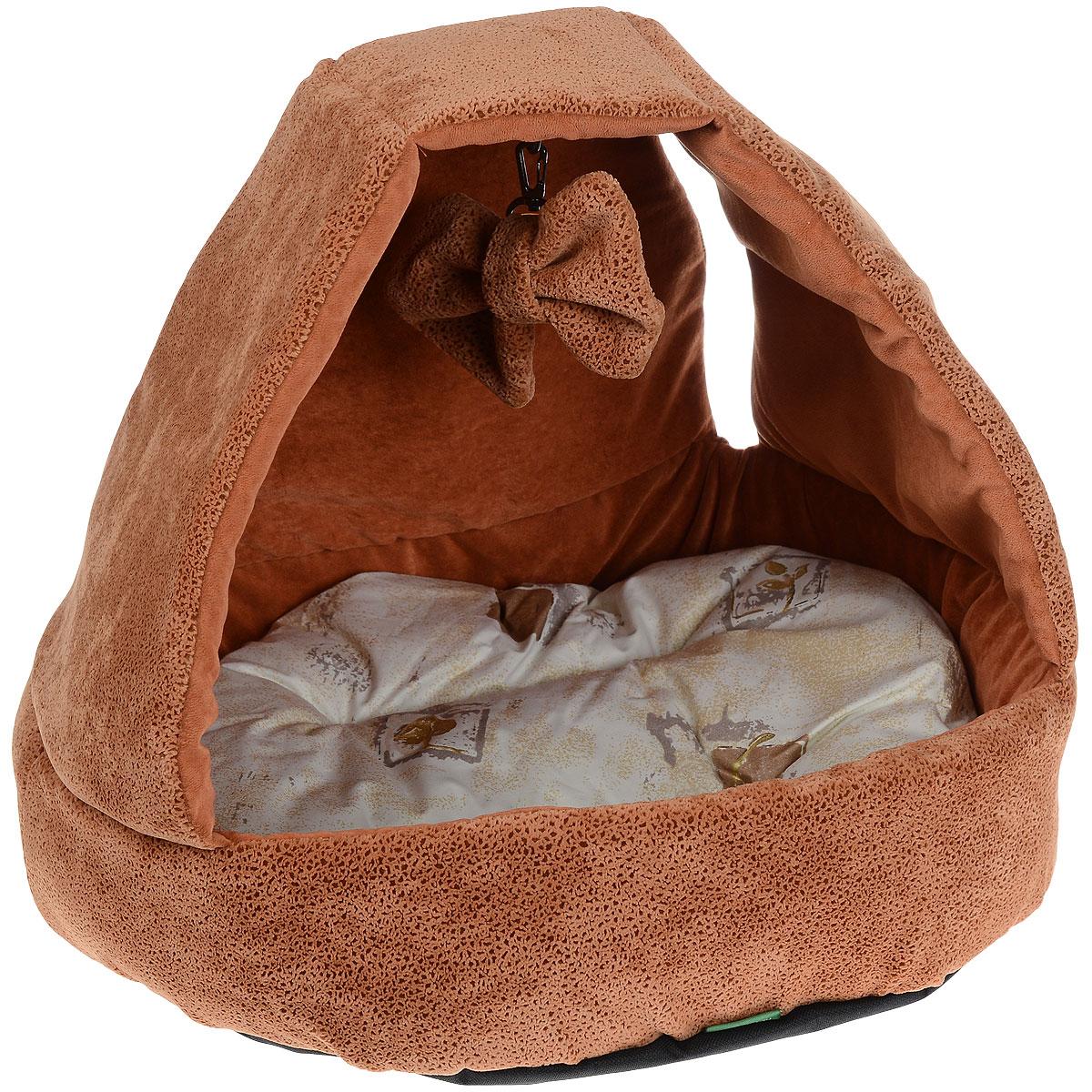 Домик для кошек и собак Titbit с игрушкой, цвет: рыжий, 43 см х 43 см х 40 см0120710Домик TiTBiT с игрушкой обеспечит Вашему питомцу комфортный отдых и веселое развлечение. Предназначен для кошек и небольших собак. Конструкция из поролона прекрасно держит форму. Отделка из мебельной ткани Флок нежная и мягкая на ощупь. Дно изделия выполнено из износостойкой ткани Оксфорд. Внутри домика - мягкая подушка на синтепоне которую можно стирать в машине. И игрушка на карабине, которую можно отстегивать.Вкус: Состав: ткань мебельная флок, поролон, синтепон, ткань тик, ткань Оксфорд.Условия хранения: сухое место.