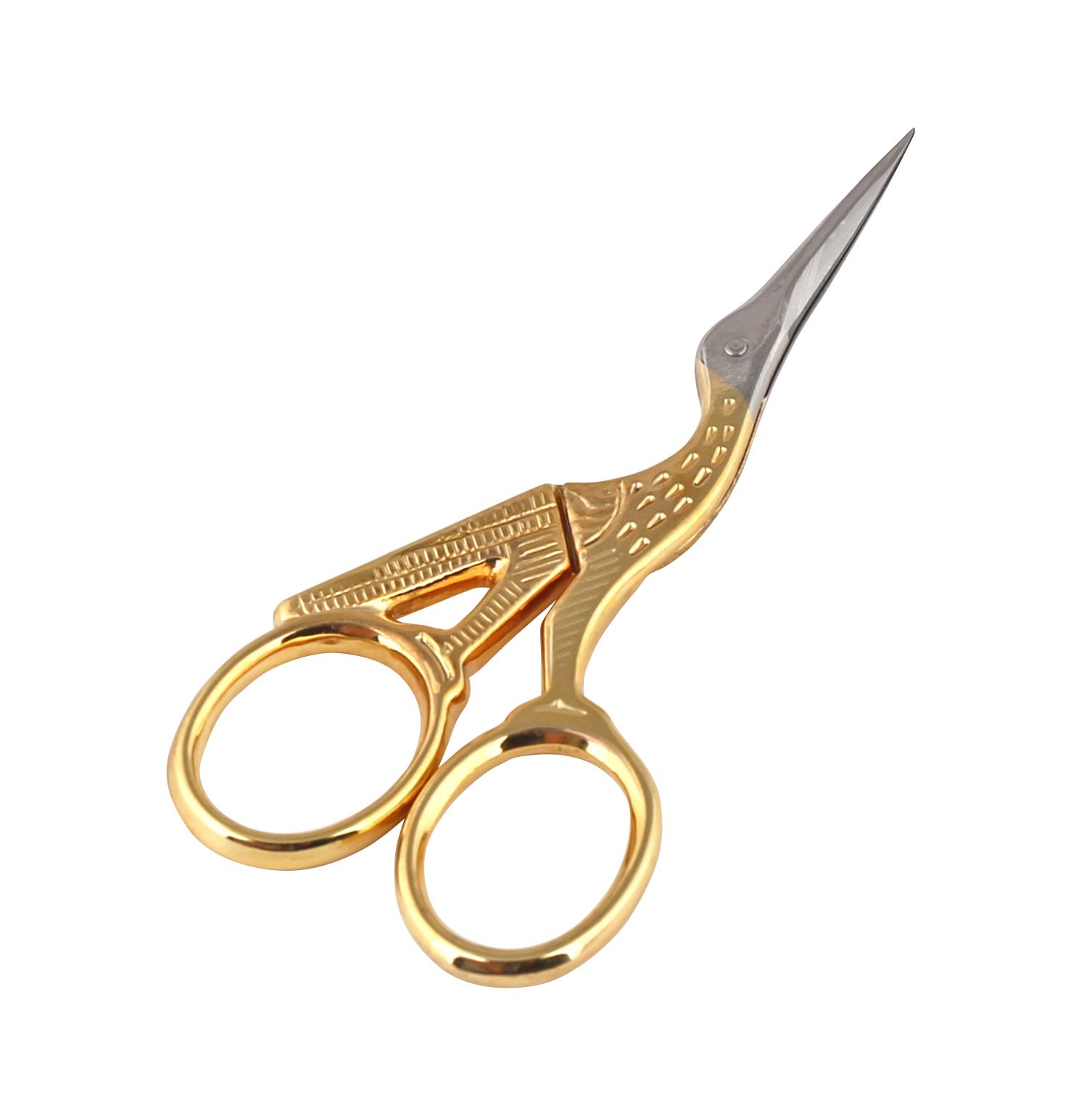 Ножницы вышивальные Premax Цапельки, цвет: золотистый, длина 9,3 смFS-36052Вышивальные ножницы Premax Цапельки изготовлены из нержавеющей стали в форме цапли. Предназначены для обрезания ниток, выполнения подсечек и прочих мелких работ. Ножницы имеют удобные ручки с золотистым покрытием. Длина ножниц: 9,3 см. Длина лезвия: 2,5 см.