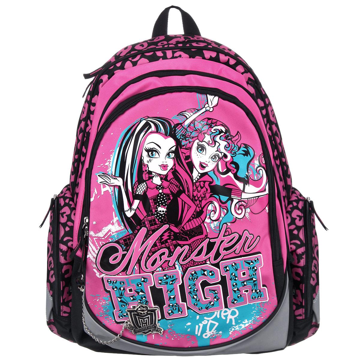 Рюкзак школьный Monster High, цвет: розовый, черный, серый. MHBB-RT2-9760044-GB01-P1Школьный рюкзак Monster High обязательно понравится вашей школьнице. Выполнен из современных водонепроницаемых, износостойких материалов и дополнен брендовым брелоком.Содержит два вместительных отделения, закрывающиеся на застежки-молнии. В большом отделении находится мягкий карман с хлястиком на липучке для различных гаджетов. Лицевая сторона оснащена накладным карманом на молнии, внутри которого имеются три открытых кармашка, карман на молнии и два отделения для пишущих принадлежностей. По бокам расположены два накладных кармана: на застежке-молнии. Спинка рюкзака дополнена мягкими подушечками для комфортной посадки, а сетчатый материал обеспечивает естественную вентиляцию и впитывание влаги, поэтому ребенку никогда не будет жарко. Лямки регулируются по длине, поэтому ранец легко видоизменяется вместе с ростом ребенка. Рюкзак оснащен текстильной ручкой для удобной переноски в руке. Светоотражающие элементы обеспечивают безопасность в темное время суток.Многофункциональный школьный рюкзак станет незаменимым спутником вашего ребенка в походах за знаниями.Рекомендуемый возраст: от 10 лет.
