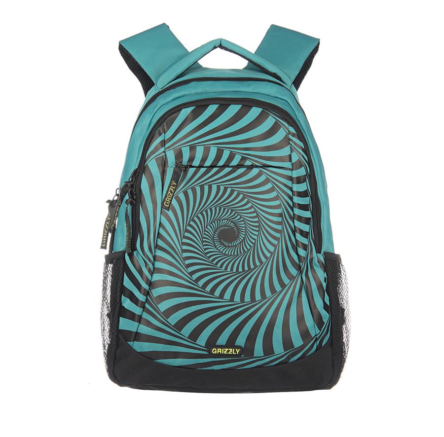 Рюкзак городской Grizzly, цвет: бирюзовый, черный, 24 л. RU-601-2/8