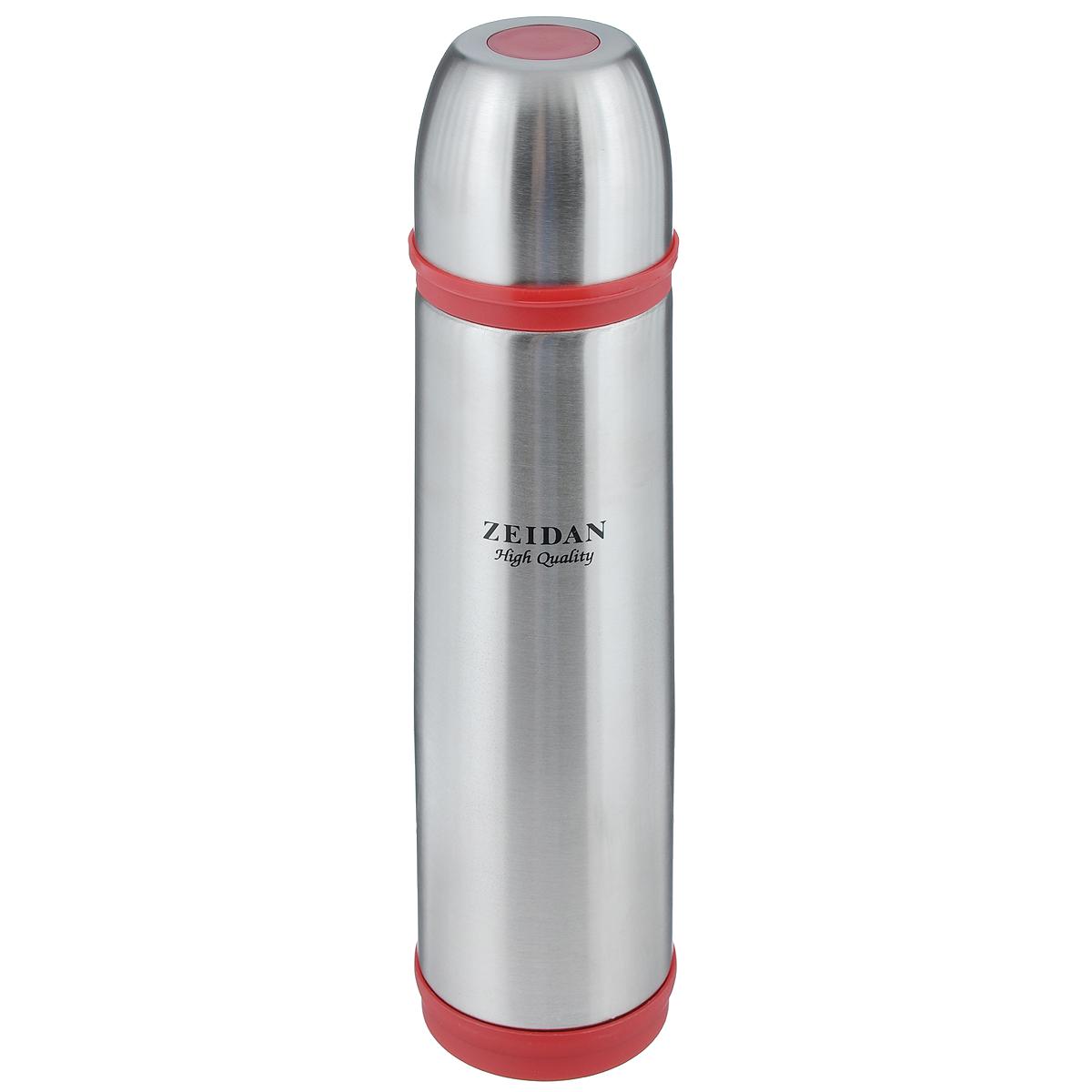 Термос Zeidan, цвет: красный, серебристый, 1 лVT-1520(SR)Термос с узким горлом Zeidan, изготовленный из высококачественной нержавеющей стали, является простым в использовании, экономичным и многофункциональным. Термос с двухстеночной вакуумной изоляцией, предназначенный для хранения горячих и холодных напитков (чая, кофе). Изделие укомплектовано пробкой с кнопкой. Такая пробка удобна в использовании и позволяет, не отвинчивая ее, наливать напитки после простого нажатия. Изделие также оснащено крышкой-чашкой. Легкий и прочный термос Zeidan сохранит ваши напитки горячими или холодными надолго.Высота (с учетом крышки): 33,5 см.Диаметр горлышка: 5 см.