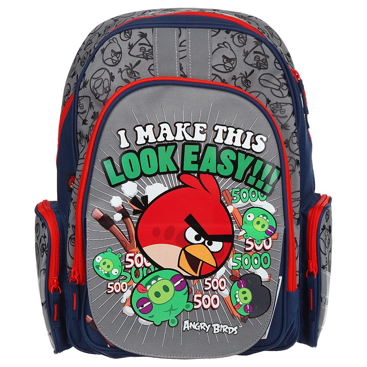 Рюкзак детский Академия Групп Angry Birds, цвет: серый, синий, красный. ABBB-UT1-836M72523WDРюкзак детский Академия Групп Angry Birds выполнен из высококачественного полиэстера. Имеет одно объемное основное отделение на застежке-молнии. Основное отделение содержит три небольших накладных кармана, два открытых, один на молнии. Снаружи располагается внешний карман с изображением героев популярной игры Angry Birds. Перекидная магнитная панель позволяет легко менять внешний вид рюкзака. По бокам рюкзака имеются два сетчатых кармана на молнии. Множество карманов повышает функциональность рюкзака и позволяет использовать его не только для учебы, но и для занятий спортом, поездок за город. Широкие мягкие регулируемые лямки и мягкая спинка анатомической формы предохранят плечи и спину ребенка от перенапряжения. Рюкзак имеет текстильную ручку с резиновым хватом для удобства переноски.