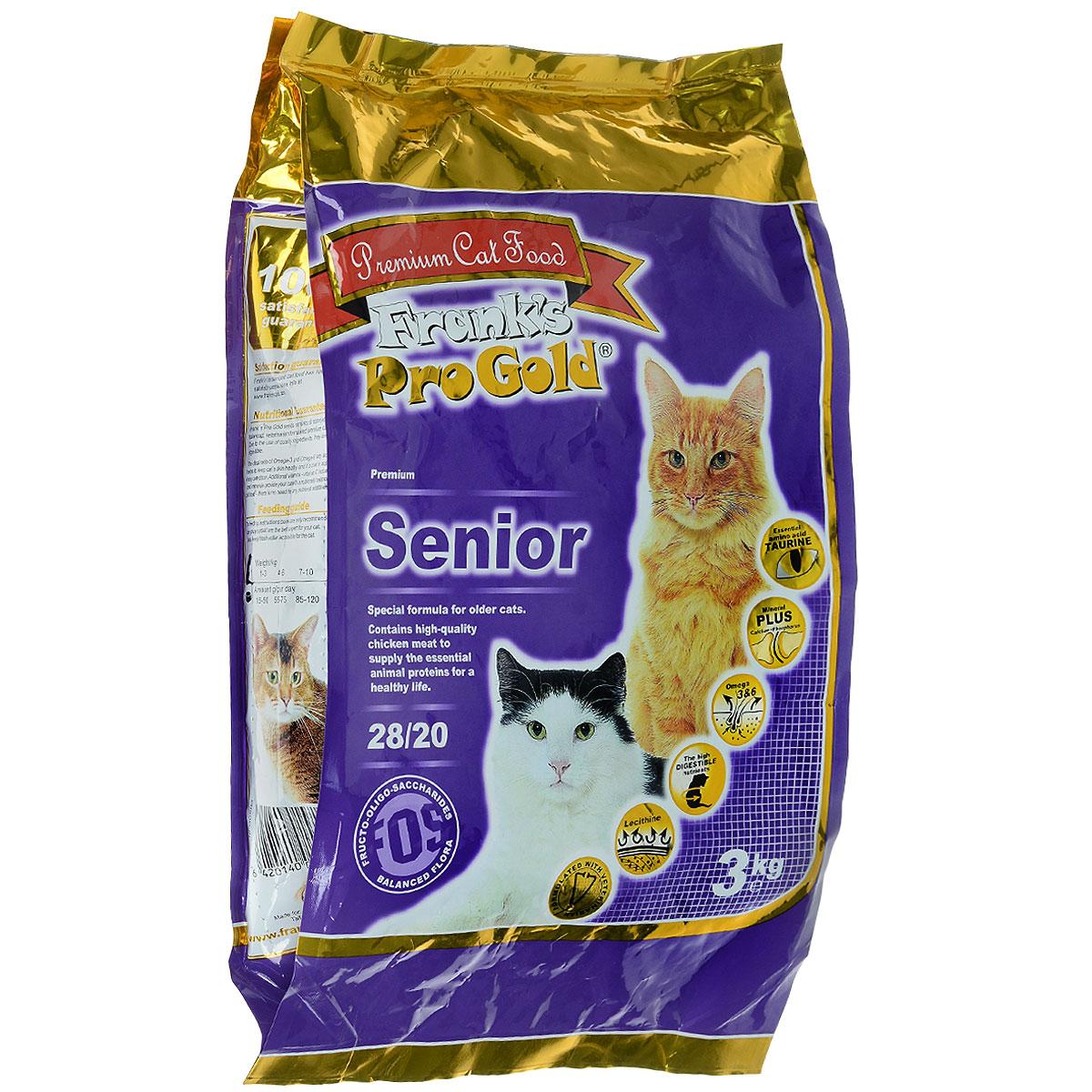 Корм сухой Franks ProGold для пожилых кошек, 3 кг0120710Корм сухой Franks ProGold предназначен для пожилых кошек. Корм повышает иммунитет, помогает сохранить функцию почек, суставов, сердца и других жизненно важных органов.Не содержит пшеницы, соевых добавок, ГМО.Состав: дегидрированное мясо курицы, рис, маис, куриный жир, дегидрированная рыба, ячмень, гидролизованная куриная печень, пищевая целлюлоза (5%), свекла, минералы и витамины, дрожжи, яичный порошок, рыбий жир, инулин (0,5% FOS), лецитин (0,5%), экстракт юкки шидигера, гидролизованные хрящи (источник хондроитина), гидролизованные рачки (источник глюкозамина).Пищевая ценность: елки 28,0%, жиры 20,0%, клетчатка 5,0%, зола 6,0%, влажность 8,0%, фосфор 0,9%, кальций 1,0%.Пищевые добавки: витамин-A (E672) 20000 IU/кг, витамин-D3 (E671) 1800 IU/кг, витамин-E (dl-альфа токоферола ацетат) 400 мг/кг, витамин-C (фосфат аскорбиновой кислоты) 250 мг/кг, таурин 1100 мг/кг, E1 75 мг/кг, E2 1,5 мг/кг, E3 0,5 мг/кг, E4 5 мг/кг, E5 30 мг/кг, E6 65 мг/кг. Товар сертифицирован.