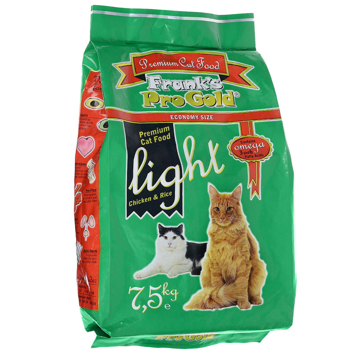 Корм сухой Franks ProGold для кошек, склонных к полноте, с курицей и рисом, 7,5 кг0120710Сухой корм Franks ProGold - это полноценный сбалансированный корм для склонных к полноте кошек, а также после кастрации и стерилизации. Каждая четвертая кошка страдает избыточным весом. Однажды появившийся избыточный вес имеет тенденцию сохраняться и даже увеличиваться. Лишние килограммы могут повредить здоровью вашей кошки. Чтобы вернуть кошке идеальный вес, необходимы разумные ограничения рациона.Состав: мясо курицы, рис, маис, рыбное филе, печень птицы, кукурузная мука, мякоть свеклы, куриный жир, дрожжи, рыбий жир, минералы и витамины, фруктоолигосахариды (минимум 0,5%), лецитин, холинхлорид, витамин У, витамин С.Пищевая ценность: белки 29,0%, жиры 12,0%, клетчатка 2,5%, зола 6,5%, влажность 8,0%, фосфор 0,9%, кальций 1,0%, натрий 0,4%, магний 0,08%. Калорийность: 3505 ккал/кг.Товар сертефицирован.
