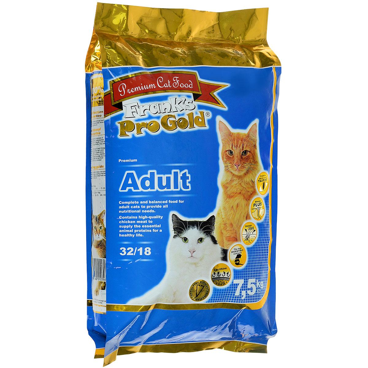 Корм сухой Franks ProGold для взрослых кошек, с курицей, 7,5 кг0120710Сухой корм Franks ProGold - это полноценный рацион для взрослых кошек. Он содержит особую разработанную с участием ученых комбинацию ингредиентов для поддержания здоровья вашего питомца в течение продолжительного времени. Не содержит пшеницы, соевых добавок, ГМО.Состав: дегидрированное мясо курицы, рис, куриный жир, дегидрированная рыба, ячмень, гидролизованная куриная печень, кукурузная мука, свекла, дрожжи, яичный порошок, рыбий жир, минералы и витамины, гидролизованные хрящи (источник хондроитина), гидролизованные рачки (источник глюкозамина), лецитин (минимум 0,5%), инулин (минимум 0,5%FOS), таурин.Пищевая ценность: белки 32,0%, жиры 18,0%, клетчатка 2,0%, зола 6,0%, влажность 8,0%, фосфор 0,9%, кальций 1,4%.Добавки: витамин-A (E672) 20000 IU/кг, витамин-D3 (E671) 2000 IU/кг, витамин-E (dl-альфа токоферола ацетат) 400 мг/кг, витамин-C (фосфат аскорбиновой кислоты) 250 мг/кг, таурин 1000 мг/кг, E1 75 мг/кг, E2 1,5 мг/кг, E3 0,5 мг/кг, E4 5 мг/кг, E5 30 мг/кг, E6 65 мг/кг. Товар сертифицирован.