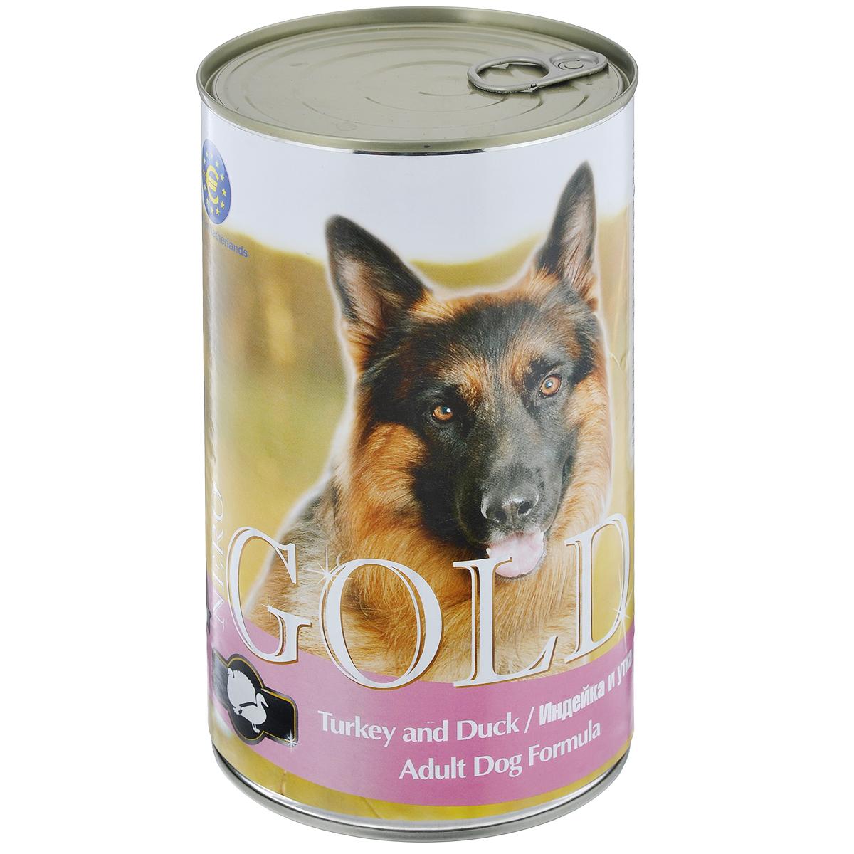 Консервы для собак Nero Gold, с индейкой и уткой, 1250 г0120710Консервы для собак Nero Gold - полнорационный продукт, содержащий все необходимые витамины и минералы, сбалансированный для поддержания оптимального здоровья вашего питомца! Состав: мясо и его производные, филе курицы, филе индейки, филе утки, злаки, витамины и минералы. Гарантированный анализ: белки 6,5%, жиры 4,5%, клетчатка 0,5%, зола 2%, влага 81%. Пищевые добавки на 1 кг продукта: витамин А 1600 МЕ, витамин D 140 МЕ, витамин Е 10 МЕ, железо 24 мг, марганец 6 мг, цинк 15 мг, медь 1 мг, магний 200 мг, йод 0,3 мг, селен 0,2 мг.Вес: 1250 г. Товар сертифицирован.