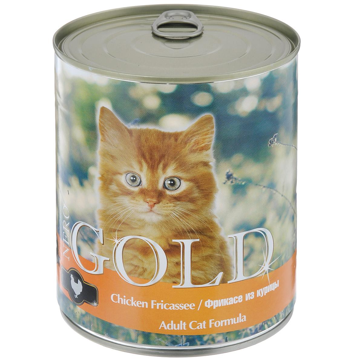 Консервы для кошек Nero Gold, с фрикасе из курицы, 810 г0120710Консервы для кошек Nero Gold - полнорационный продукт, содержащий все необходимые витамины и минералы, сбалансированный для поддержания оптимального здоровья вашего питомца! Состав: мясо и его производные, филе курицы, злаки, витамины и минералы. Гарантированный анализ: белки 6%, жиры 4,5%, клетчатка 0,5%, зола 2%, влага 81%.Пищевые добавки на 1 кг продукта: витамин А 1600 МЕ, витамин D 140 МЕ, витамин Е 10 МЕ, таурин 300 мг, железо 24 мг, марганец 6 мг, цинк 15 мг, медь 1 мг, магний 200 мг, йод 0,3 мг, селен 0,2 мг.Вес: 810 г. Товар сертифицирован.