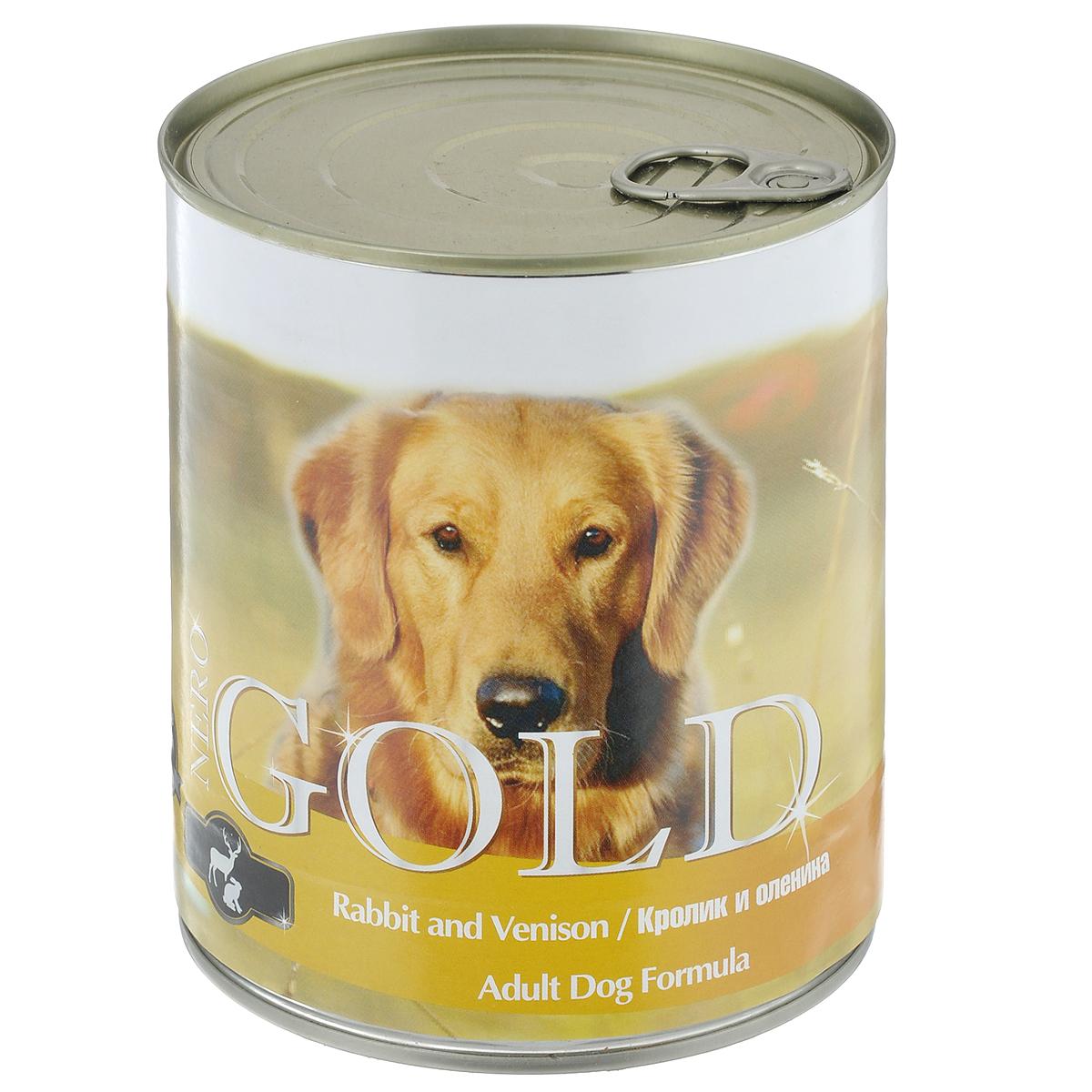 Консервы для собак Nero Gold, с кроликом и олениной, 810 г0120710Консервы для собак Nero Gold - полнорационный продукт, содержащий все необходимые витамины и минералы, сбалансированный для поддержания оптимального здоровья вашего питомца! Состав: мясо и его производные, филе курицы, филе кролика, оленина, злаки, витамины и минералы. Гарантированный анализ: белки 6,5%, жиры 4,5%, клетчатка 0,5%, зола 2%, влага 81%. Пищевые добавки на 1 кг продукта: витамин А 1600 МЕ, витамин D 140 МЕ, витамин Е 10 МЕ, железо 24 мг, марганец 6 мг, цинк 15 мг, медь 1 мг, магний 200 мг, йод 0,3 мг, селен 0,2 мг.Вес: 810 г. Товар сертифицирован.