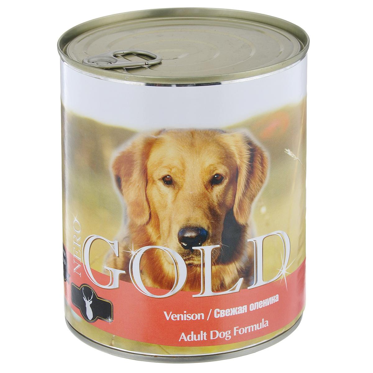 Консервы для собак Nero Gold, с олениной, 810 г0120710Консервы для собак Nero Gold - полнорационный продукт, содержащий все необходимые витамины и минералы, сбалансированный для поддержания оптимального здоровья вашего питомца! Состав: мясо и его производные, филе курицы, оленина, злаки, витамины и минералы. Гарантированный анализ: белки 6,5%, жиры 4,5%, клетчатка 0,5%, зола 2%, влага 81%. Пищевые добавки на 1 кг продукта: витамин А 1600 МЕ, витамин D 140 МЕ, витамин Е 10 МЕ, железо 24 мг, марганец 6 мг, цинк 15 мг, медь 1 мг, магний 200 мг, йод 0,3 мг, селен 0,2 мг.Вес: 810 г. Товар сертифицирован.
