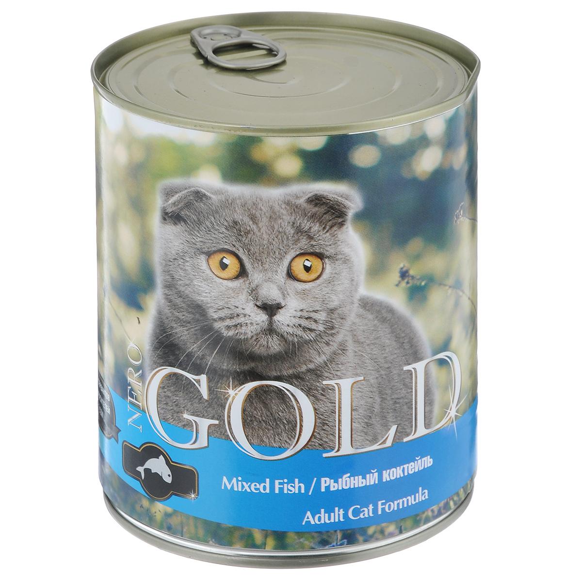 Консервы для кошек Nero Gold, рыбный коктейль, 810 г102110018Консервы для кошек Nero Gold - полнорационный продукт, содержащий все необходимые витамины и минералы, сбалансированный для поддержания оптимального здоровья вашего питомца! Состав: мясо и его производные, филе курицы, филе рыбы, злаки, витамины и минералы. Гарантированный анализ: белки 6%, жиры 4,5%, клетчатка 0,5%, зола 2%, влага 81%.Пищевые добавки на 1 кг продукта: витамин А 1600 МЕ, витамин D 140 МЕ, витамин Е 10 МЕ, таурин 300 мг, железо 24 мг, марганец 6 мг, цинк 15 мг, медь 1 мг, магний 200 мг, йод 0,3 мг, селен 0,2 мг.Вес: 810 г. Товар сертифицирован.