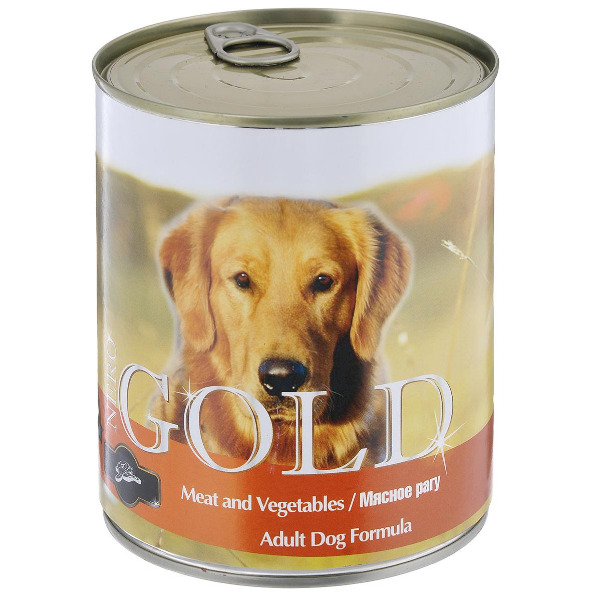 Консервы для собак Nero Gold, мясное рагу, 810 г0120710Консервы для собак Nero Gold - полнорационный продукт, содержащий все необходимые витамины и минералы, сбалансированный для поддержания оптимального здоровья вашего питомца! Состав: мясо и его производные, филе курицы, овощи, злаки, витамины и минералы. Гарантированный анализ: белки 6,5%, жиры 4,5%, клетчатка 0,5%, зола 2%, влага 81%. Пищевые добавки на 1 кг продукта: витамин А 1600 МЕ, витамин D 140 МЕ, витамин Е 10 МЕ, железо 24 мг, марганец 6 мг, цинк 15 мг, медь 1 мг, магний 200 мг, йод 0,3 мг, селен 0,2 мг.Вес: 810 г. Товар сертифицирован.