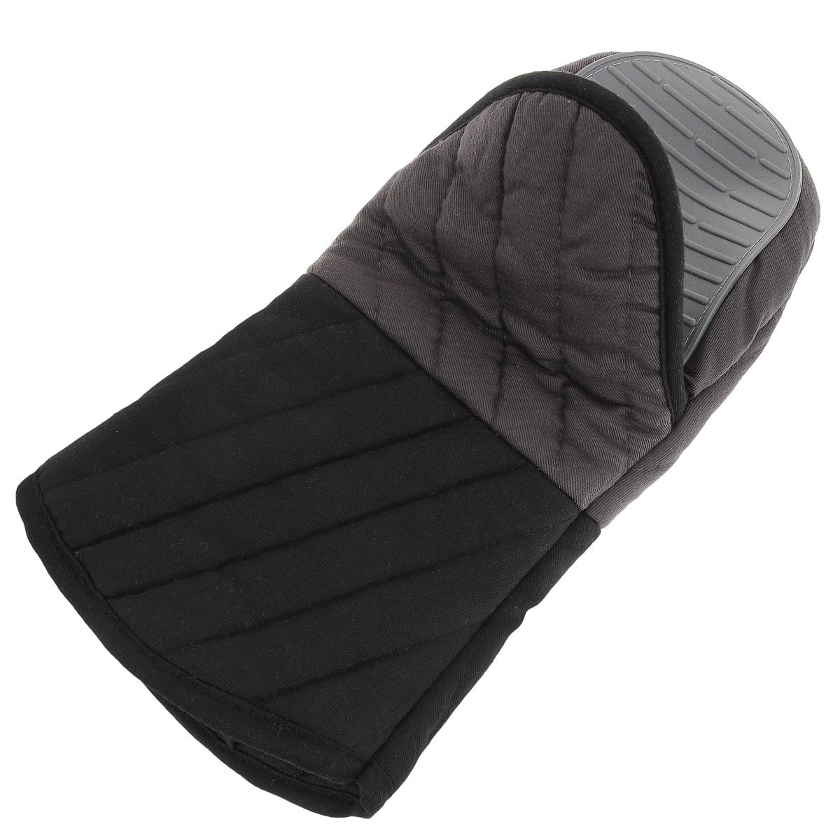 Рукавица-прихватка Tefal Comfort Touch, с силиконовый покрытием, цвет: серый, черныйVT-1520(SR)Рукавица-прихватка Tefal Comfort Touch поможет аккуратно достать горячее блюдо и не обжечь руки. Рукавица изготовлена из простроченного текстиля и оснащена силиконовым покрытием, которое выдерживает высокие температуры. Изделие оснащено петелькой, благодаря которой прихватку можно подвесить.Такая прихватка - помощница любой хозяйке и незаменимый аксессуар на кухне!