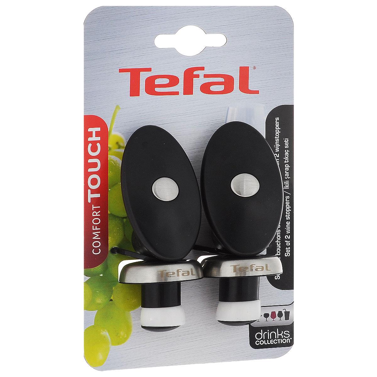 Набор пробок для бутылок Tefal Comfort Touch, 2 штVT-1520(SR)Набор пробок Tefal Comfort Touch, изготовленный из стали и пластика, станет полезным аксессуаром на вашей кухне. Пробки крепко вставляются в горлышко бутылки, что позволяет закрыть предотвратить выветривание вина и других напитков. Благодаря удобным ручкам вы с легкостью можете извлечь пробки из сосуда.Функциональность набора позволит ему занять достойное место в вашем кухонном инвентаре.Длина пробки: 10 см.