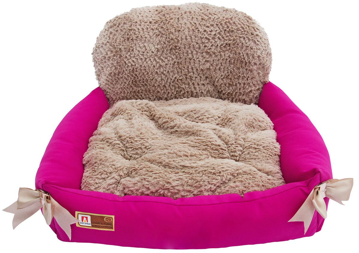 Лежак для собак и кошек Зоогурман Валенсия, цвет: розовый, 55 см х 50 см х 25 см2144Мягкий и уютный лежак для кошек и собак Зоогурман Валенсия обязательно понравится вашему питомцу. Лежак выполнен из нежного, приятного материала. Внутри - мягкий наполнитель, который не теряет своей формы долгое время. Лежак представляет собой креслице с меховой спинкой. Внутри - съемная меховая подушка. По бокам лежак украшен бантиками, а в центре золотой цепочкой.Мягкий, приятный и теплый лежак обеспечит вашему любимцу уют и комфорт. За изделием легко ухаживать, можно стирать вручную или в стиральной машине при температуре 40°С. Материал бортиков: микроволоконная шерстяная ткань.Материал спинки и матрасика: искусственный мех.Наполнитель: гипоаллергенное синтетическое волокно.Размер: 55 см х 50 см х 25 см.
