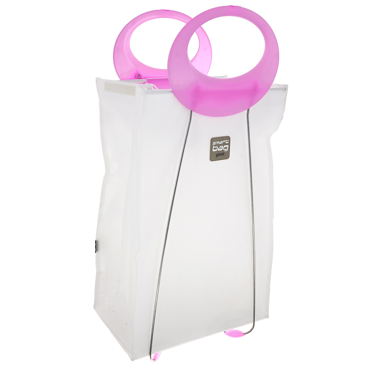 Корзина для белья Gimi Carlotta, цвет: белый, розовый, 39 см х 24 см х 78 см391602Корзина Gimi Carlotta, изготовленная из текстиля, предназначена для хранения белья. Каркас корзины выполнен из стали, благодаря чему она хорошо держит форму. Наверху у корзины имеются шнурки, завязав которые, можно скрыть содержимое корзины. В такой корзине удобно переносить белье в химчистку, так как она оснащена эргономичными пластиковыми ручками.В сложенном виде занимает минимум пространства. Легко складывается и раскладывается.Размер в сложенном виде: 39 см х 6 см х 78 см.