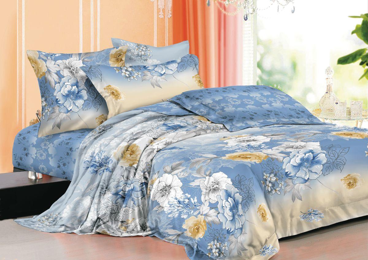 Комплект белья La Noche Del Amor, 1,5-спальный, наволочки 70х70, цвет: голубой, белый, черный. А-670-143-150-70 комплект белья la noche del amor евро наволочки 70х70 цвет сиреневый темно бирюзовый светло коричневый а 618 200 240 70
