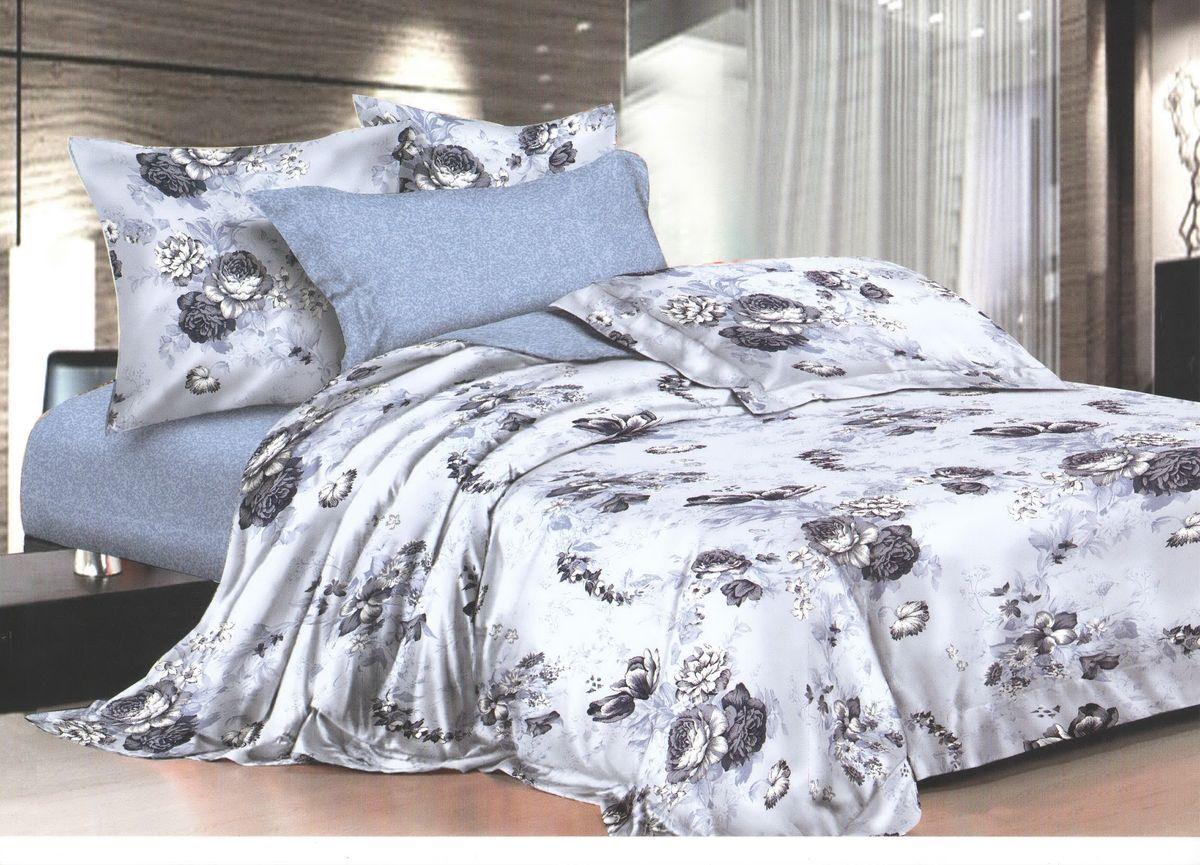 Комплект белья La Noche Del Amor, 1,5-спальный, наволочки 70х70, цвет: серо-голубой, черный, белый. А-672-143-150-7093287516Великолепный комплект постельного белья La Noche Del Amor выполнен из сатина, натурального 100% хлопка. Постельное белье из сатина очень прочное и долговечное. Такой комплект выдержит многократное количество стирок, а яркие цвета не начнут тускнеть очень продолжительное время. Сатин практически не мнется, не электризуется, великолепно впитывает влагу и отлично вентилируется. Комплект состоит из пододеяльника, простыни и двух наволочек. Изделия оформлены цветочным принтом. Благодаря такому комплекту постельного белья вы создадите неповторимую атмосферу в вашей спальне.
