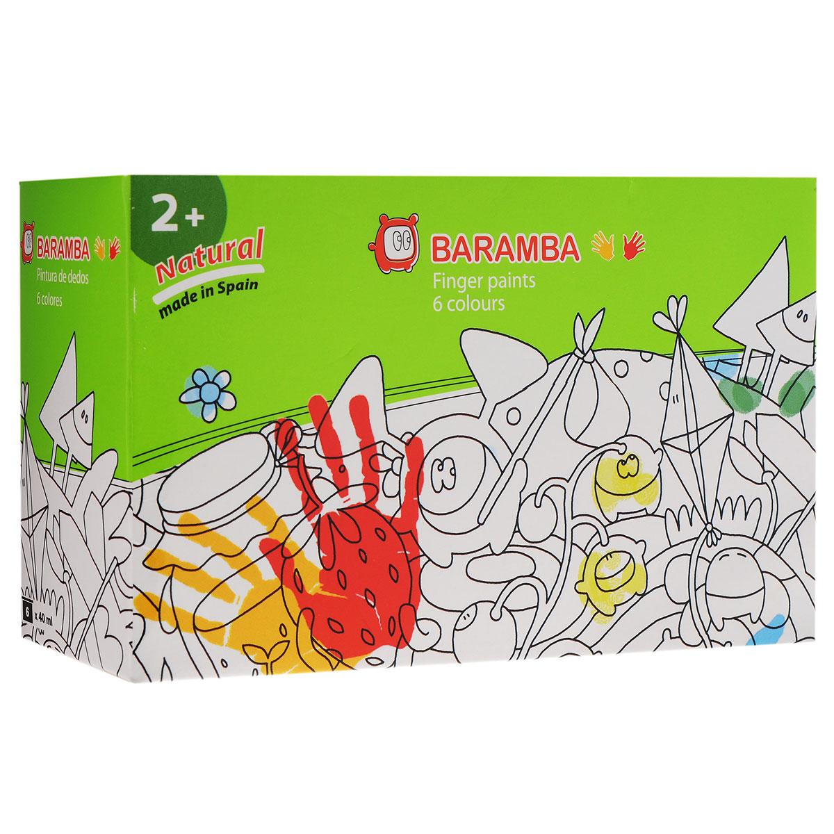 Краски пальчиковые Baramba, 6 цветов. B00536FS-00261Краски пальчиковые Baramba, 6 цветов представляют собой набор красок зеленого, голубого, желтого, оранжевого, красного, коричневого цветов. Густые краски на водной основе, не вытекающие из баночки. Легко смываются, быстро сохнут. Рисовать можно пальцами, ладонями, ступнями, кисточкой. Идеальны для раннего развития ребенка. Емкость баночки 40 мл.