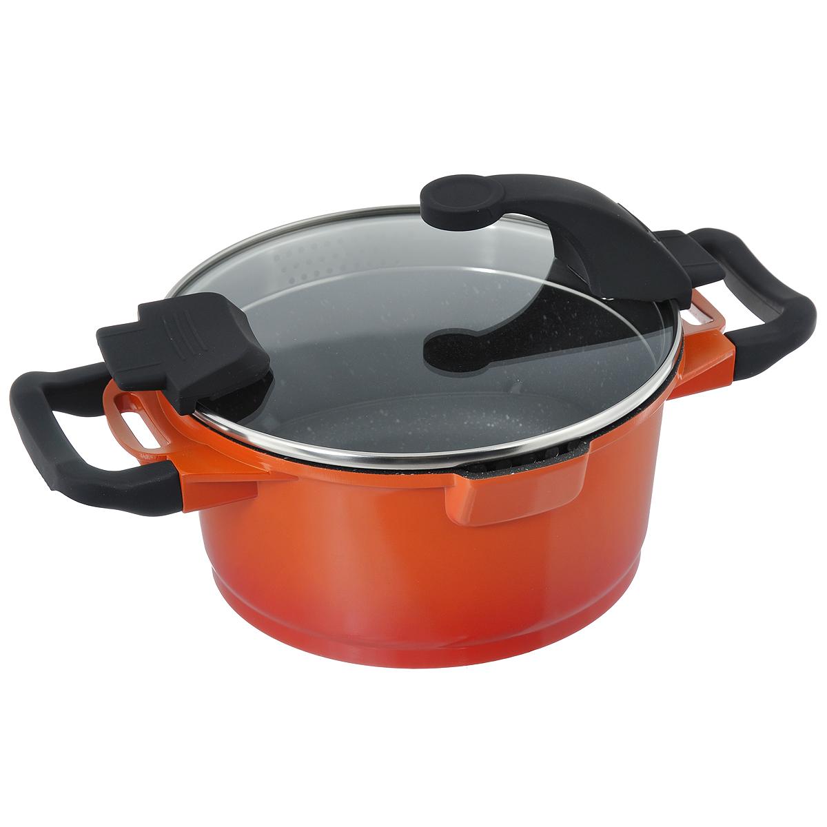 Кастрюля BergHOFF Virgo Orange с крышкой, с антипригарным покрытием, цвет: оранжево-красный, 2,7 л54 009312Кастрюля BergHOFF Virgo изготовлена из литого алюминия, который имеет эффект чугунной посуды. В отличие от чугуна, посуда из алюминия легче по весу и быстро нагревается, что гарантирует сбережение энергии. Внутреннее покрытие - экологически безопасное антипригарное покрытие Ferno Green, которое не содержит ни свинца, ни кадмия. Антипригарные свойства посуды позволяют готовить без жира и подсолнечного масла или с его малым количеством. Ручки выполнены из бакелита с покрытием Soft-touch, они имеют комфортную эргономичную форму и не нагреваются в процессе эксплуатации. Крышка изготовлена из термостойкого стекла, благодаря чему можно наблюдать за ингредиентами в процессе приготовления. Широкий металлический обод со специальными отверстиями разного диаметра позволяет выливать жидкость, не снимая крышку. Подходит для всех типов плит, включая индукционные. Рекомендуется мыть вручную. Диаметр кастрюли (по верхнему краю): 20 см. Ширина кастрюли (с учетом ручек): 32 см.Высота стенки: 10 см. Толщина стенки: 3 мм. Толщина дна: 5 мм.
