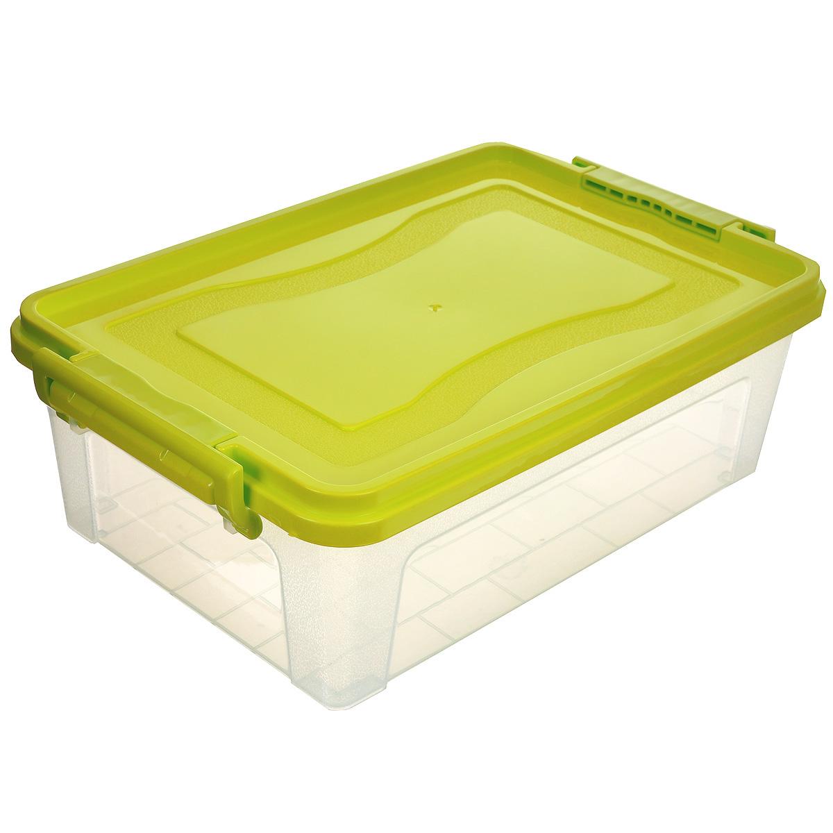 Контейнер для хранения Idea, прямоугольный, цвет: салатовый, прозрачный, 6,3 лМ 2861_салатовый, прозрачныйКонтейнер для хранения Idea выполнен из высококачественного пластика. Контейнер снабжен двумя пластиковыми фиксаторами по бокам, придающими дополнительную надежность закрывания крышки. Вместительный контейнер позволит сохранить различные нужные вещи в порядке, а герметичная крышка предотвратит случайное открывание, защитит содержимое от пыли и грязи.