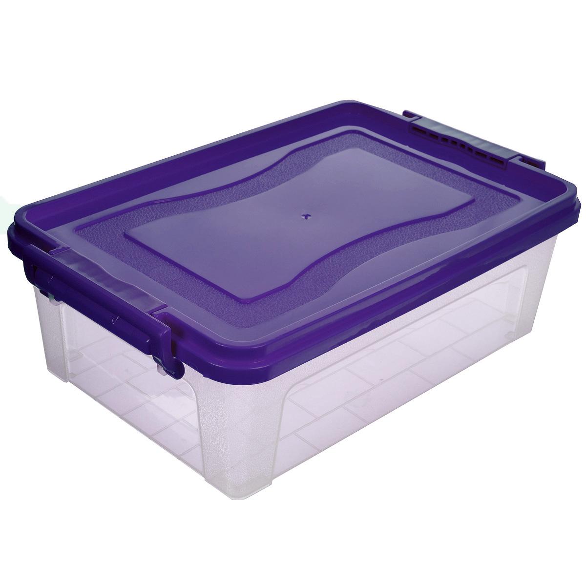 Контейнер для хранения Idea, прямоугольный, цвет: фиолетовый, прозрачный, 6,3 л1004900000360Контейнер для хранения Idea выполнен из высококачественного пластика. Контейнер снабжен двумя пластиковыми фиксаторами по бокам, придающими дополнительную надежность закрывания крышки. Вместительный контейнер позволит сохранить различные нужные вещи в порядке, а герметичная крышка предотвратит случайное открывание, защитит содержимое от пыли и грязи.