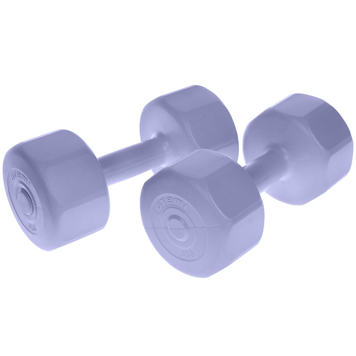 Гантели виниловые Atemi, цвет: фиолетовый, 4 кг, 2 штУТ-00008258Гантели Atemi специальной формы против качения идеально подходят как для тренировок дома, так и в офисе. Гантели помогают укрепить мышцы рук, грудной клетки, верхней части спины и плеч.