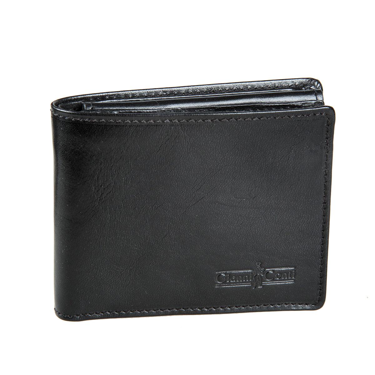 Портмоне мужское Gianni Conti, цвет: черный. 907018EQW-M710DB-1A1Стильное мужское портмоне Gianni Conti выполнено из натуральной кожи. Лицевая сторона оформлена тиснением в виде названия бренда производителя.Изделие раскладывается пополам. Внутри имеется два отделения для купюр, четыре потайных кармана, пять кармашков для визиток и пластиковых карт и карман для мелочи на кнопке. Портмоне упаковано в фирменную картонную коробку. Оригинальное портмоне подчеркнет вашу индивидуальность и изысканный вкус, а также станет замечательным подарком человеку, ценящему качественные и практичные вещи.