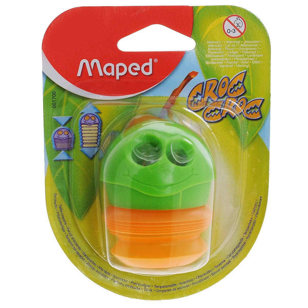 Точилка Maped Сroc-Croc, цвет: зеленый, оранжевый72523WDЗабавная точилка Сroc-Croc, выполненная из пластика и металла, предназначена для затачивания карандашей различного диаметра. Точилка с двумя отверстиями оснащена гибким вместительным контейнером для сбора стружки.Благодаря оригинальному дизайну и функциональности, точилка Сroc-Crocстанет любимой канцелярской принадлежностью вашего ребенка.